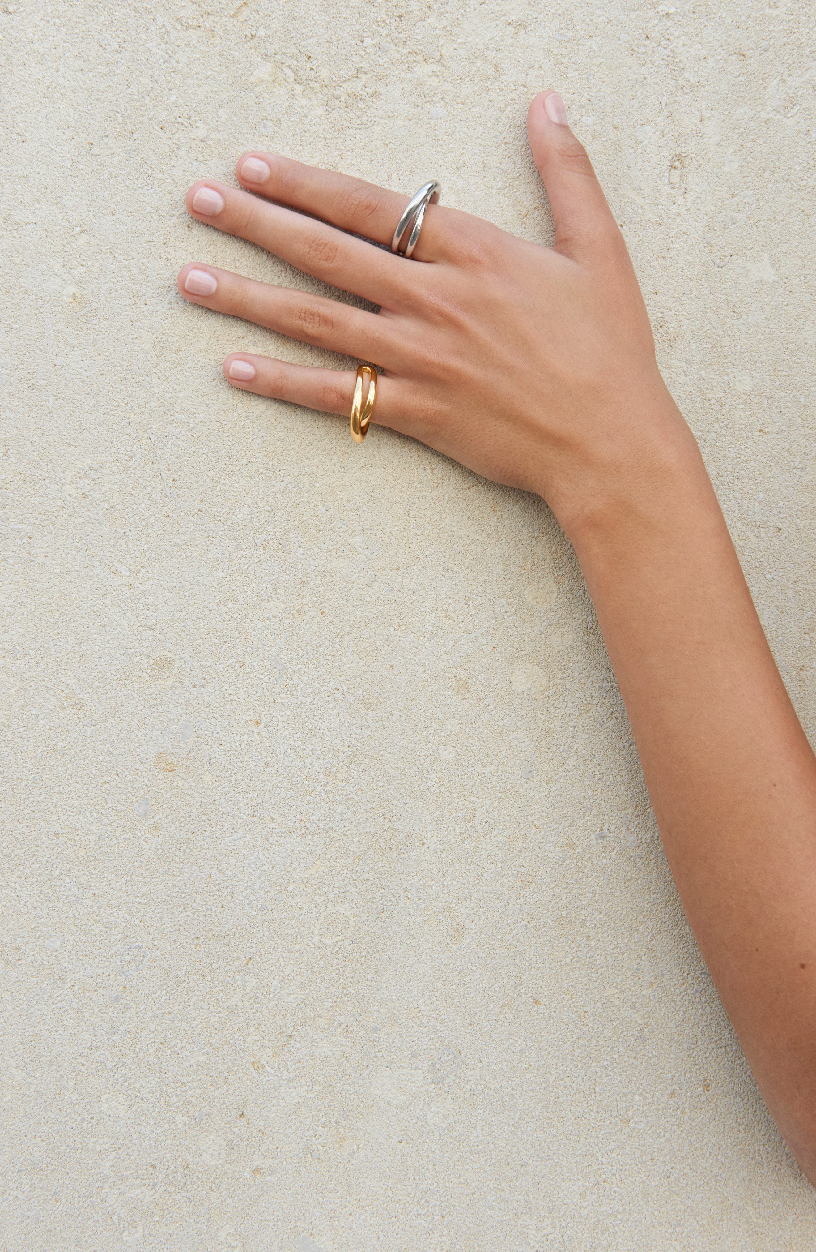 Auricular Initial Vermeil Open Ring,                             Alternate thumbnail 2, color,                             Yellow Vermeil