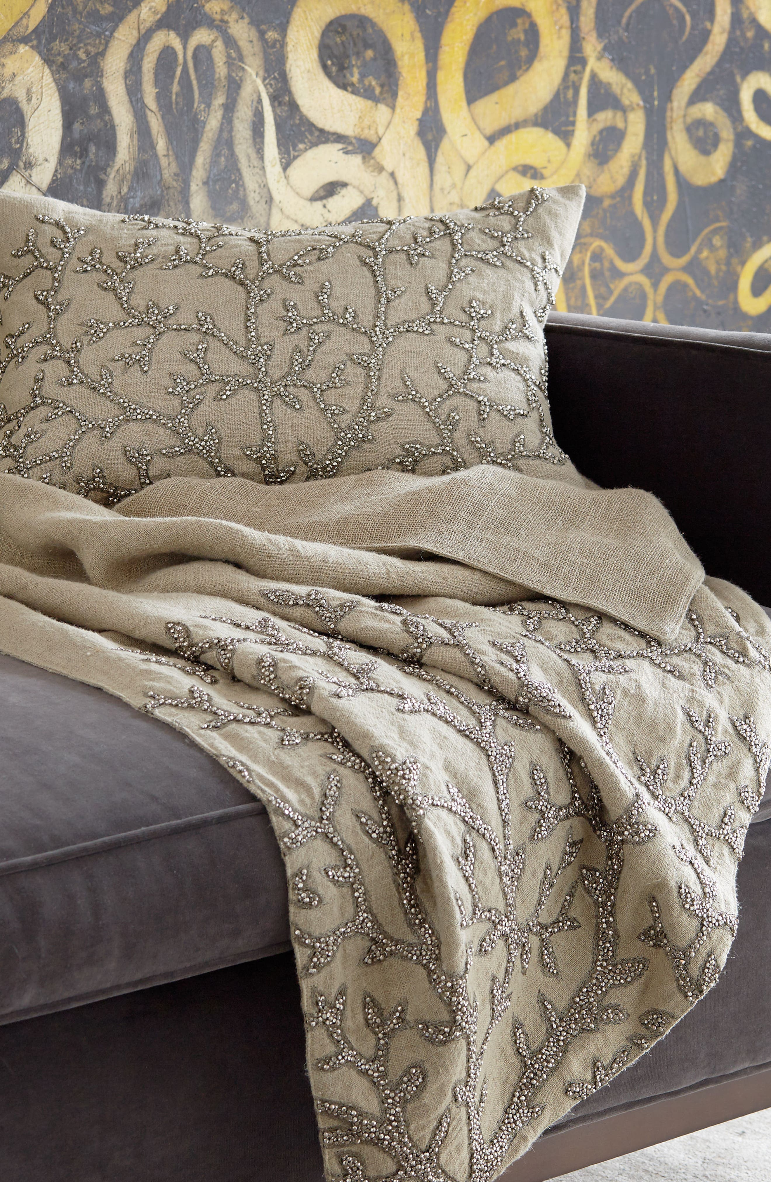 Tree Of Life Beaded Throw,                             Alternate thumbnail 2, color,                             Linen