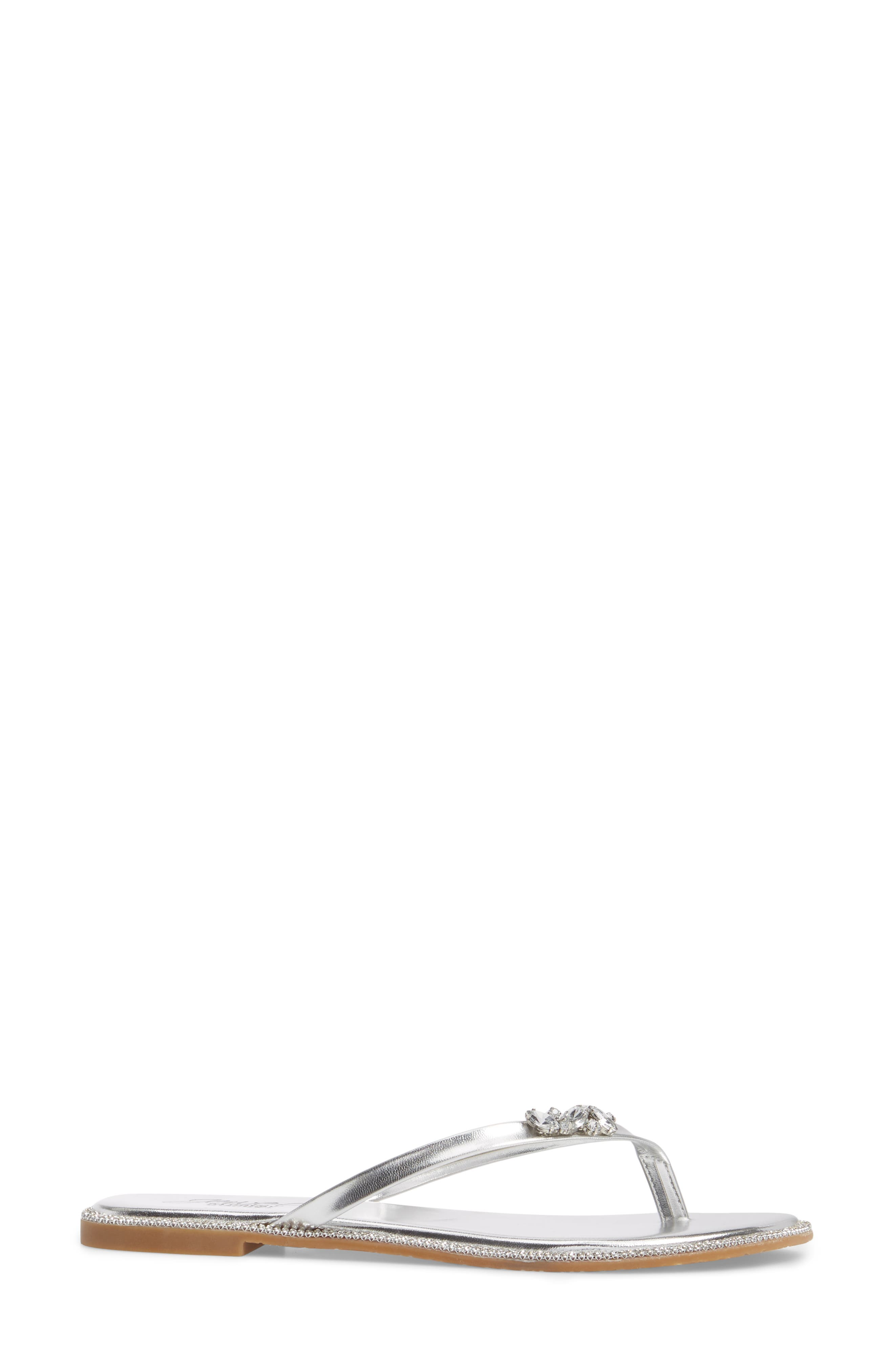 Thalia Crystal Embellished Flip Flop,                             Alternate thumbnail 3, color,                             Silver Leather