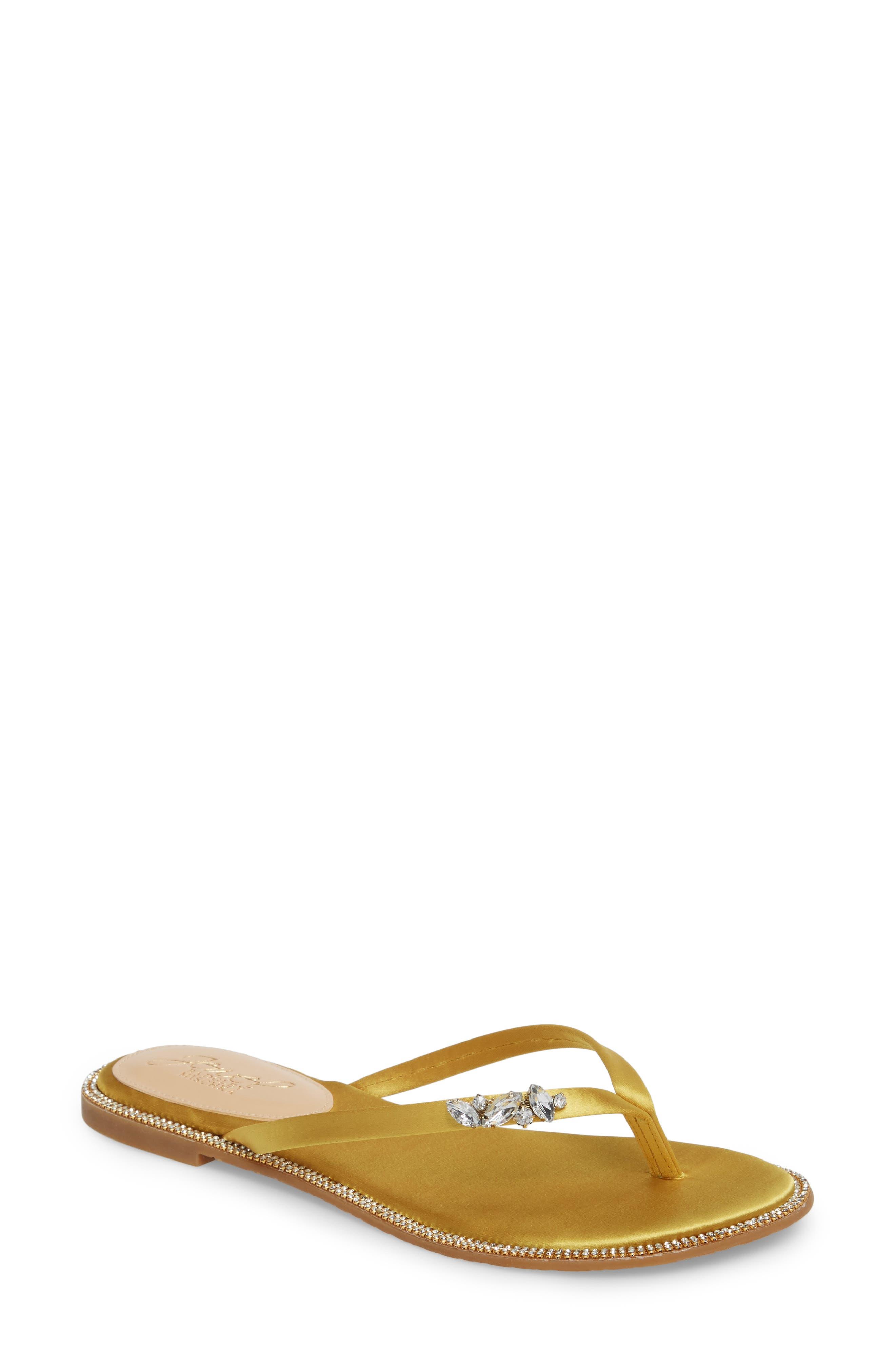 Thalia Crystal Embellished Flip Flop,                         Main,                         color, Yellow Satin