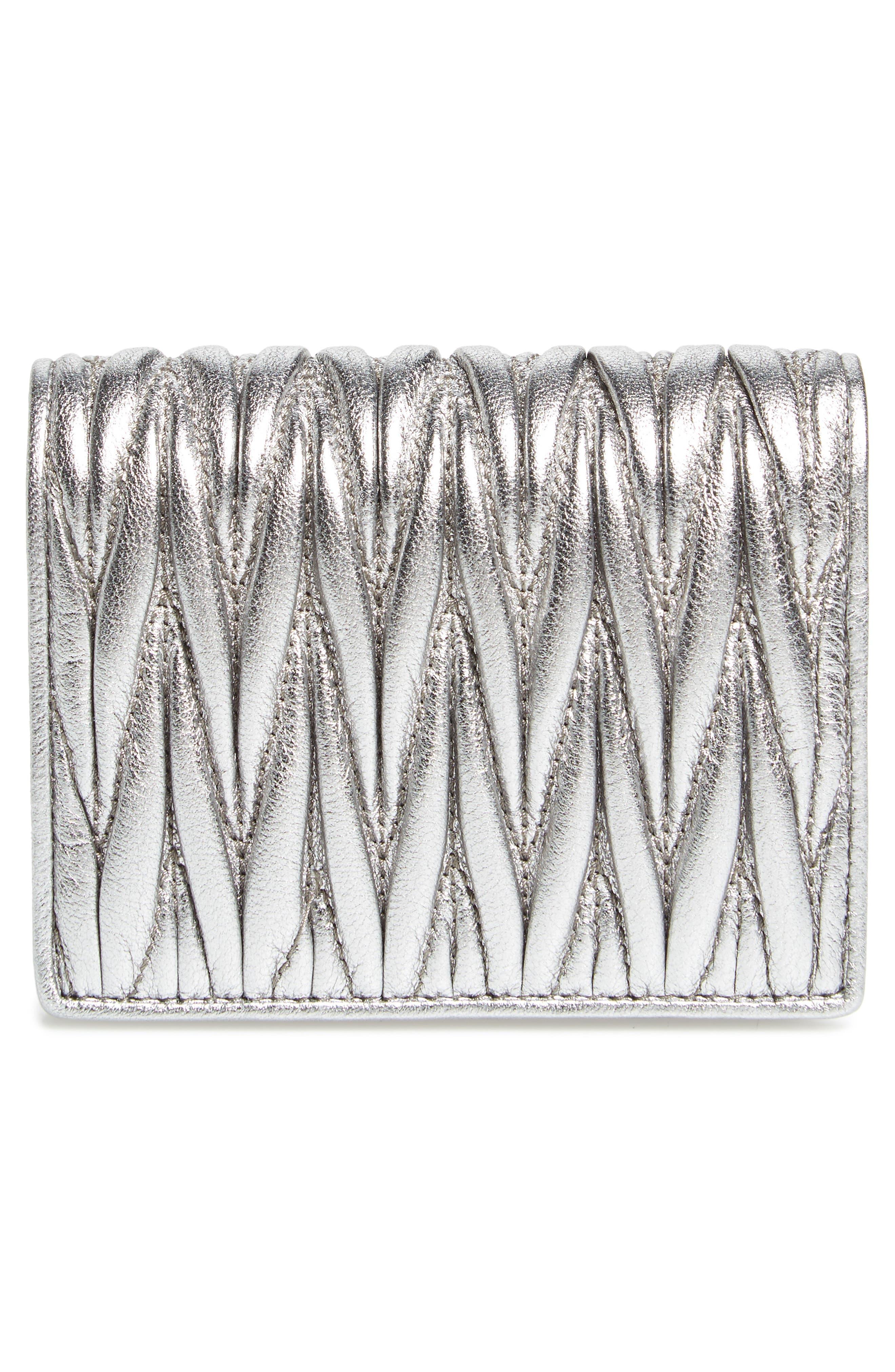 Alternate Image 4  - Miu Miu Embellished Logo Matelassé Leather Wallet