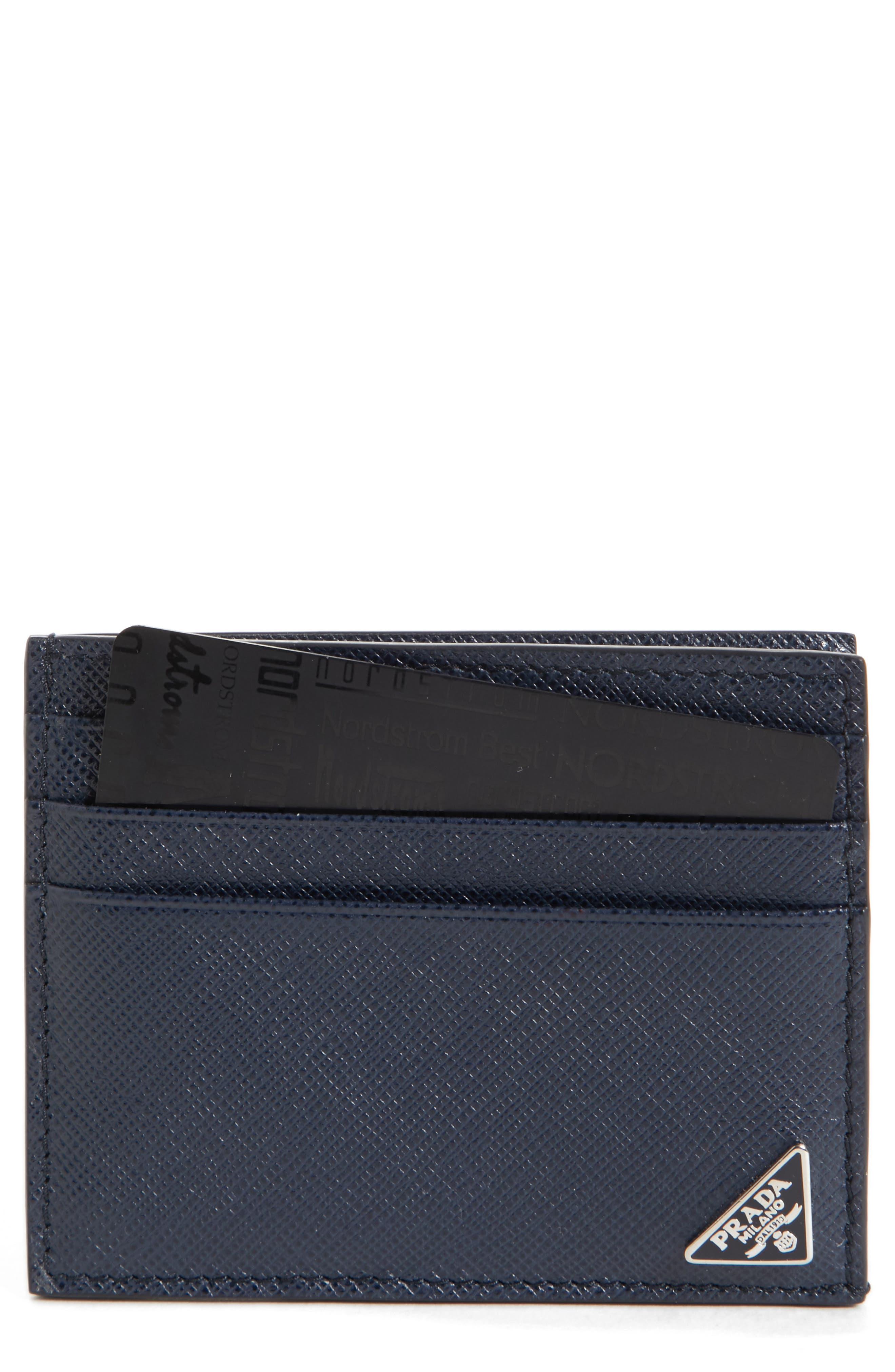 Prada Triangle Logo Leather Card Case