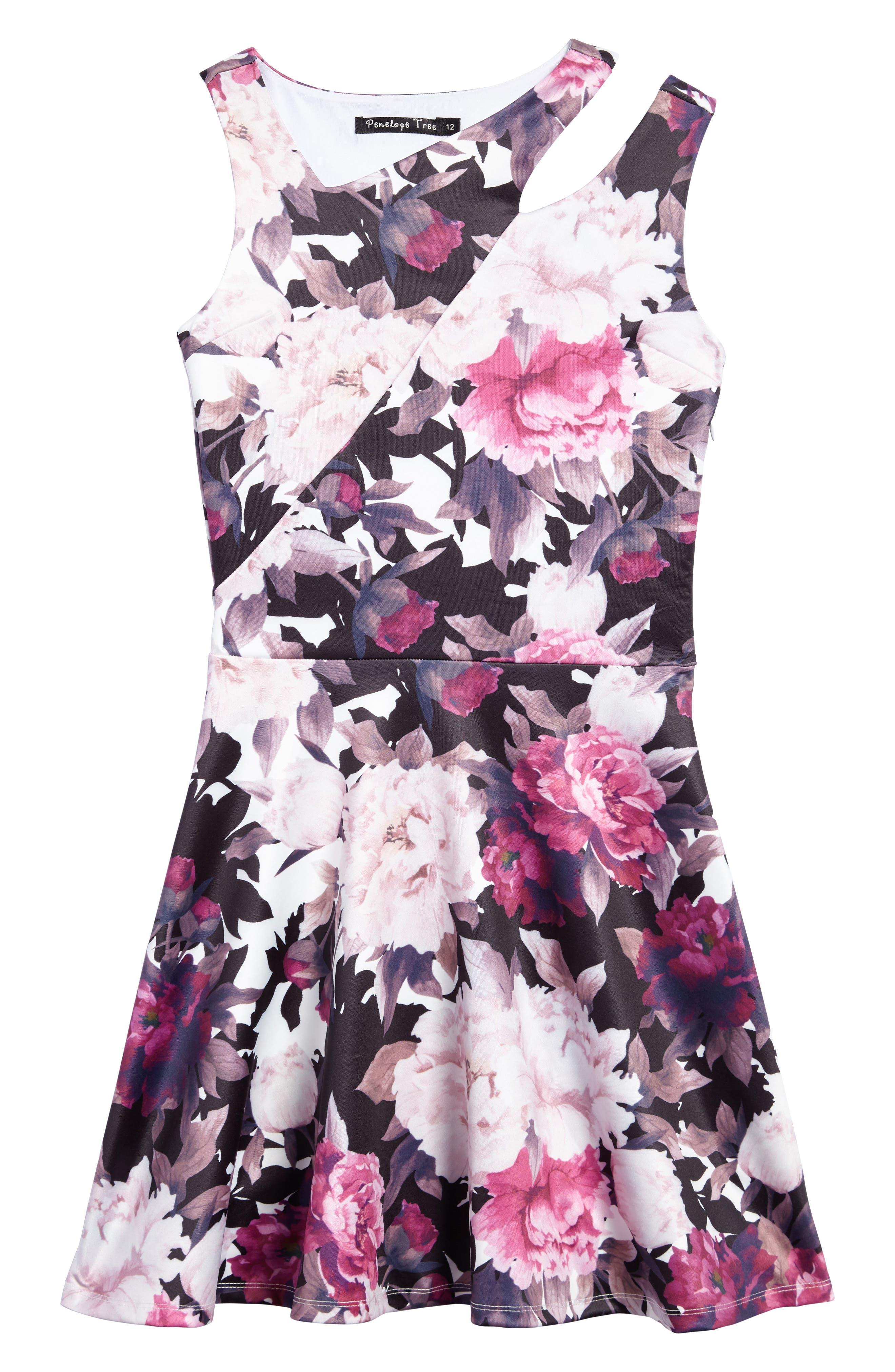 Floral Print Dress,                         Main,                         color, White