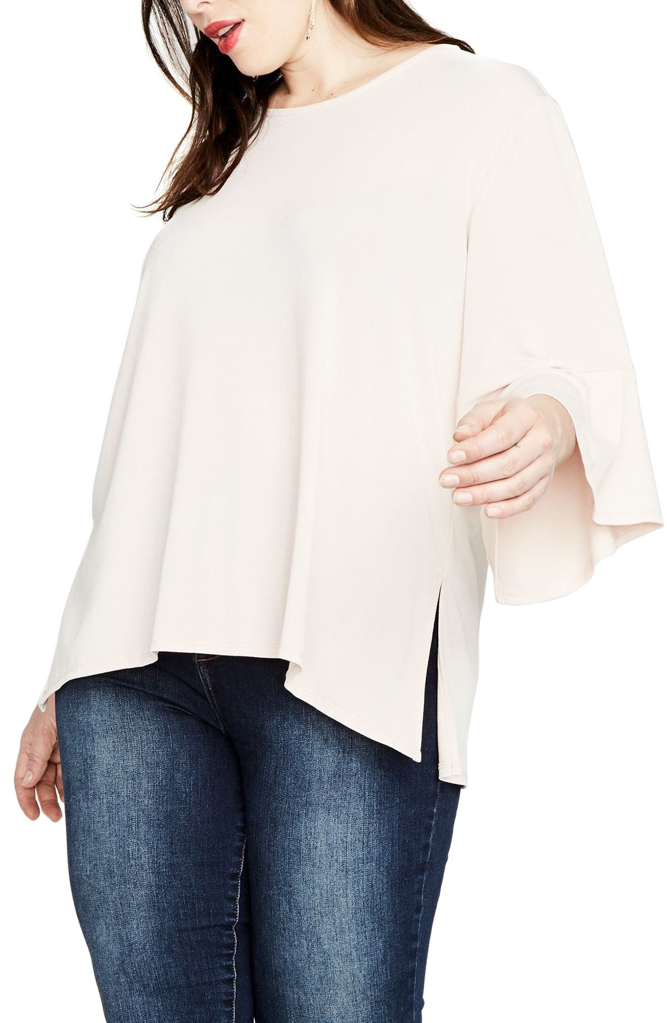 Bell Sleeve Top,                             Alternate thumbnail 3, color,                             Blush