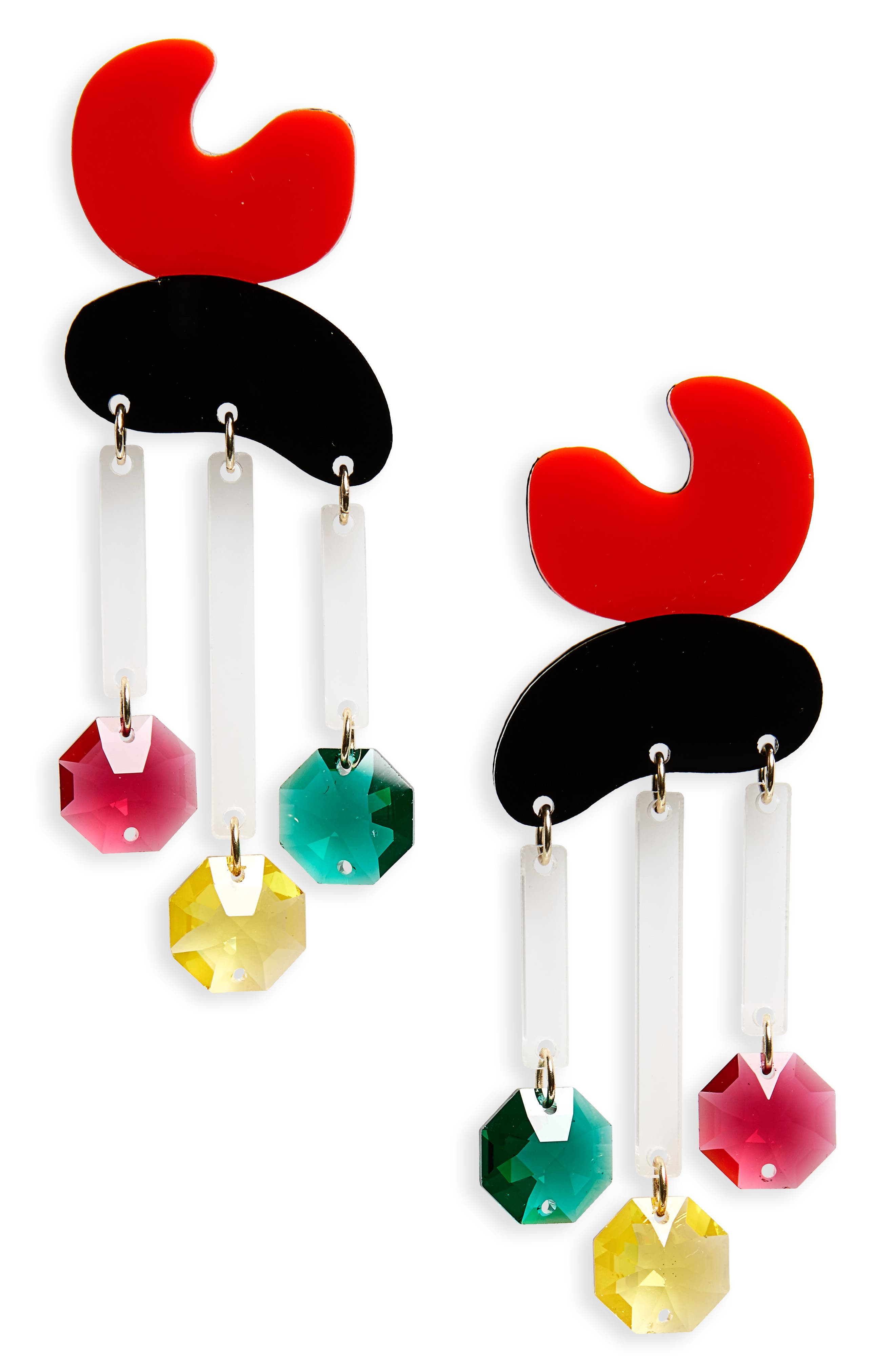 Crystal Rain Statement Earrings,                         Main,                         color, Red