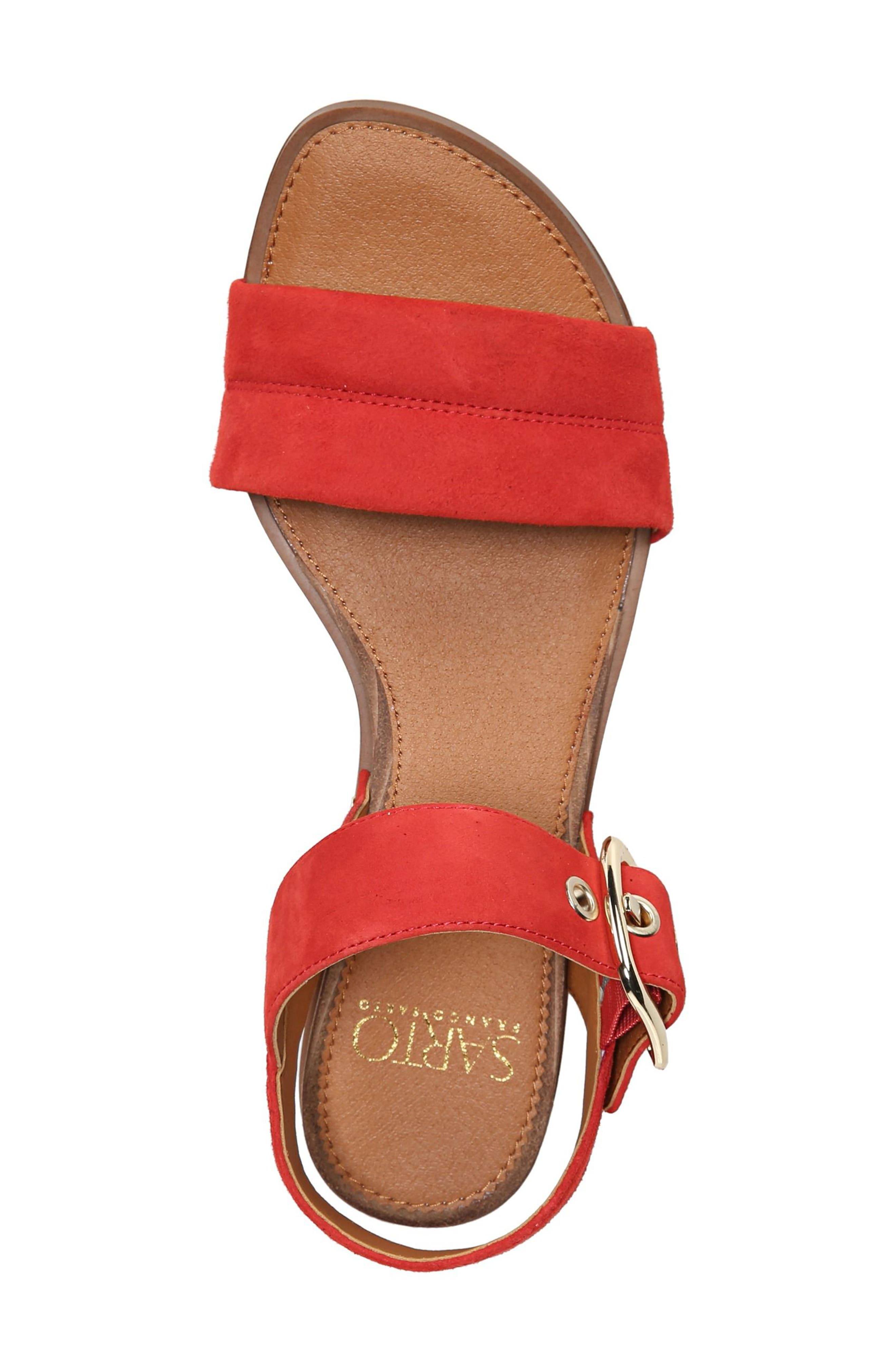 Patterson Low Wedge Sandal,                             Alternate thumbnail 5, color,                             Pop Red Suede