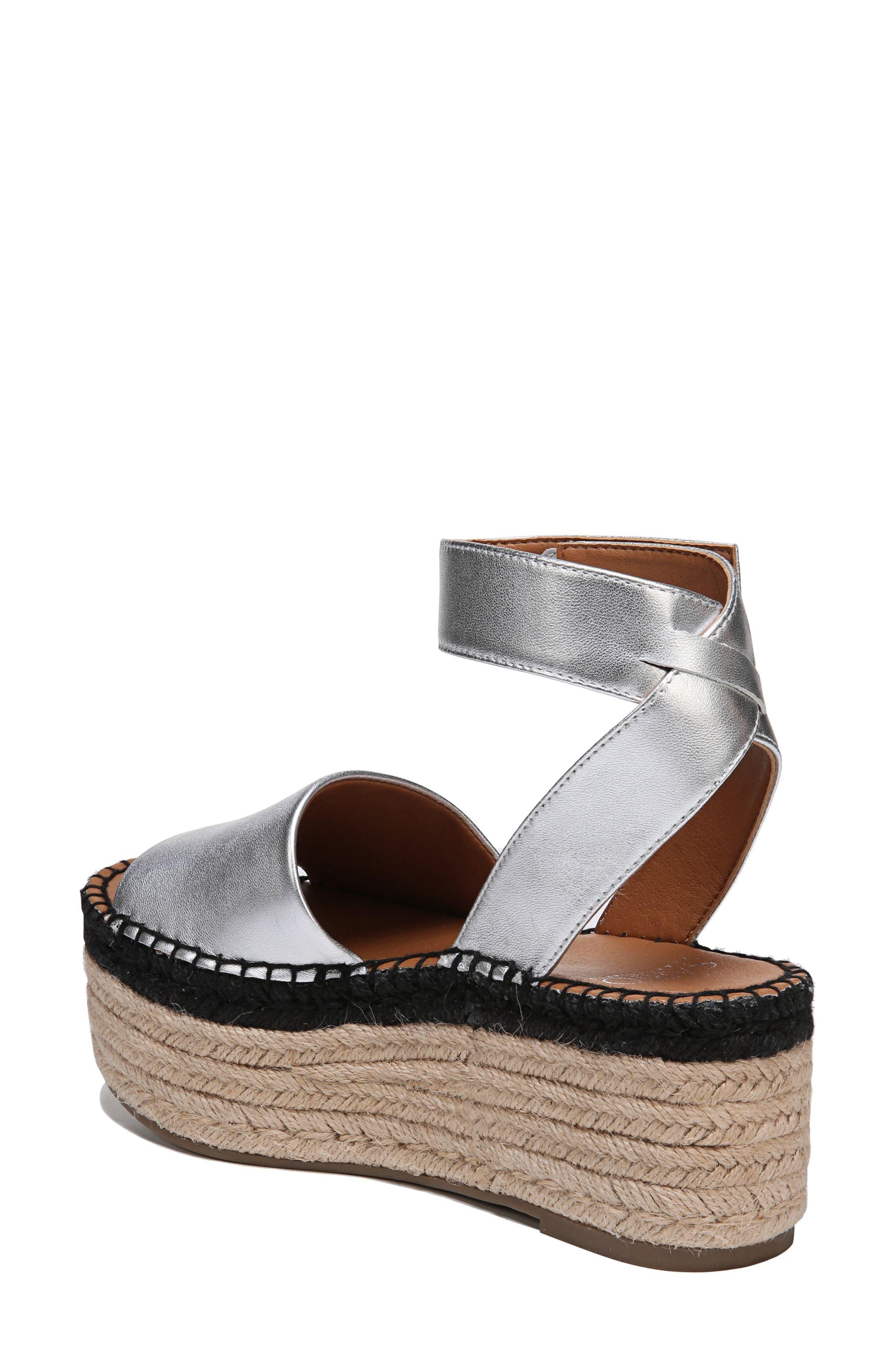 Maisi Platform Espadrille Sandal,                             Alternate thumbnail 2, color,                             Silver Leather