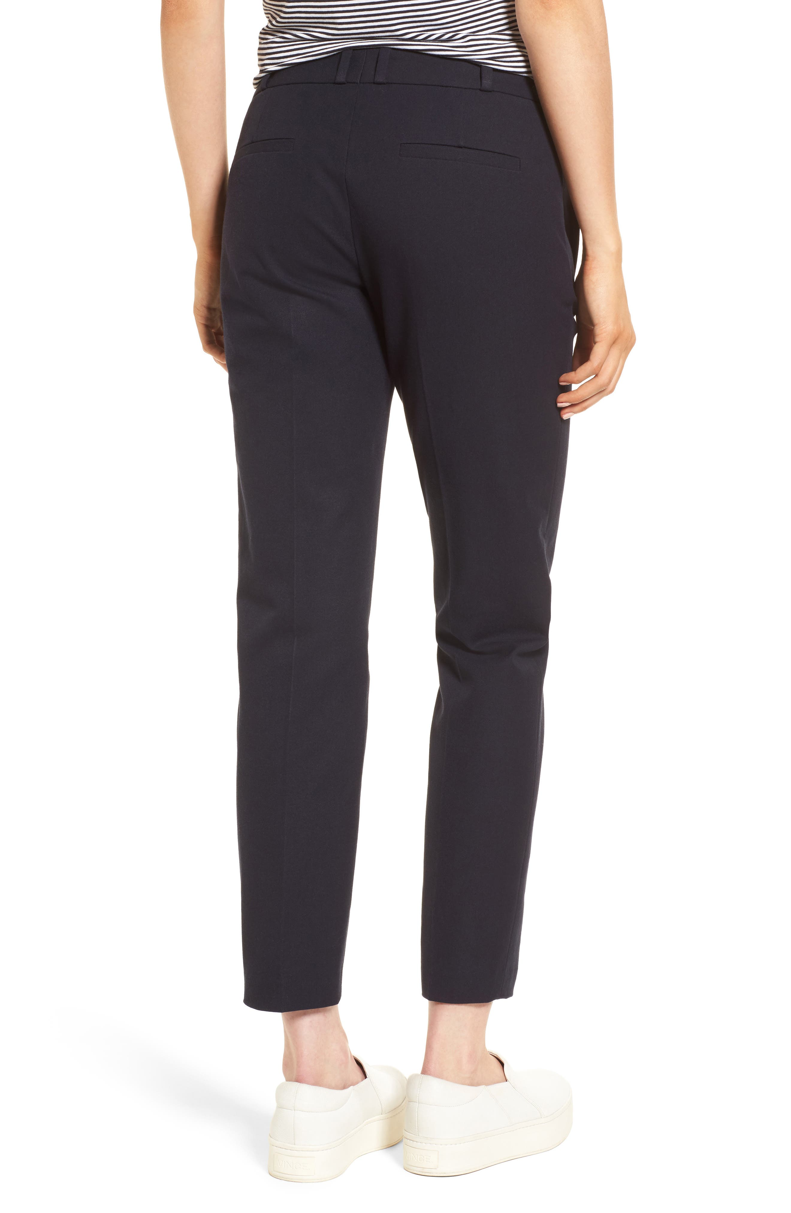 Welt Pocket Slim Leg Crop Pants,                             Alternate thumbnail 2, color,                             Navy Night