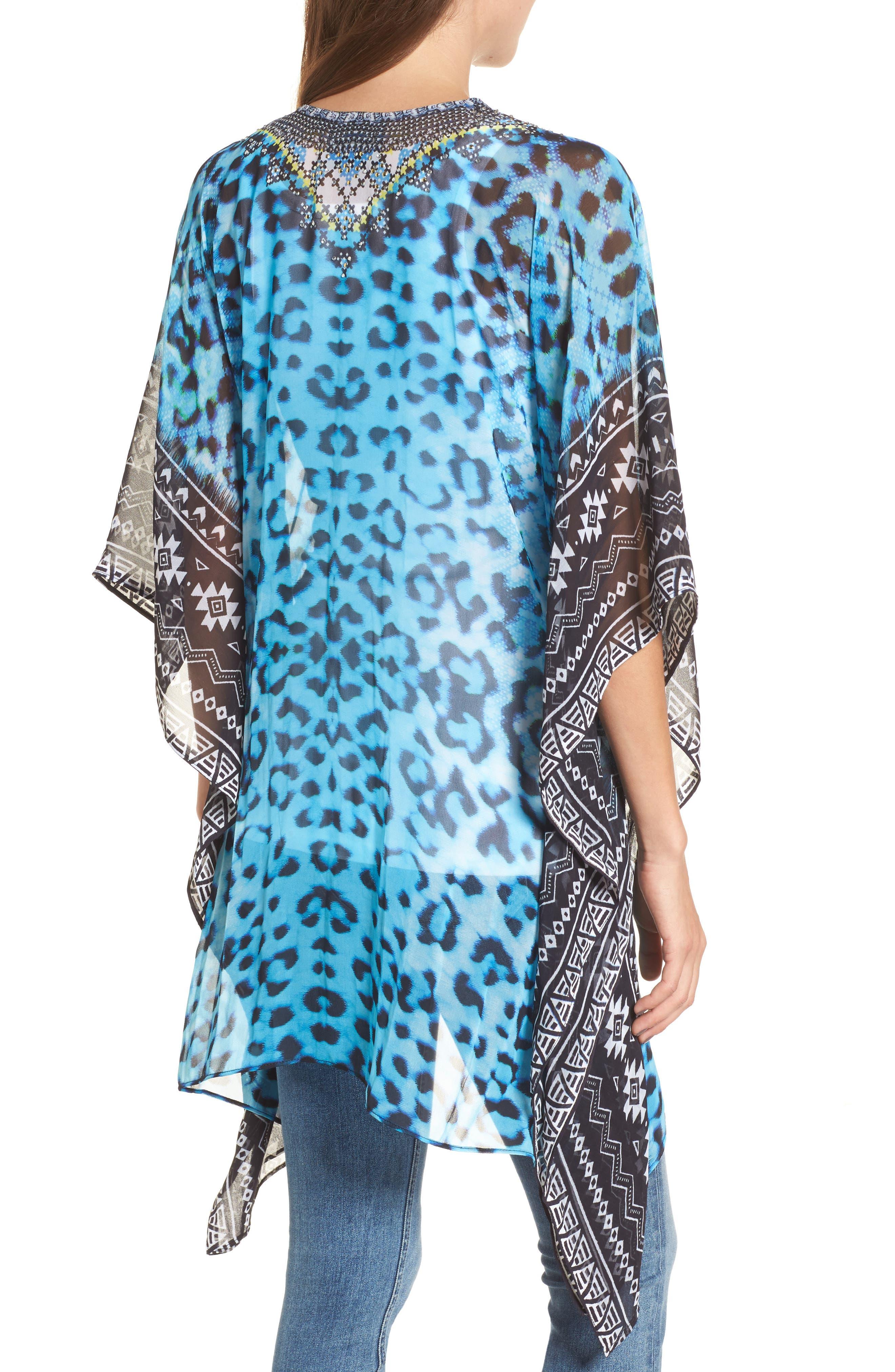 Cairo Short Kaftan,                             Alternate thumbnail 2, color,                             Blue Leopard Multi