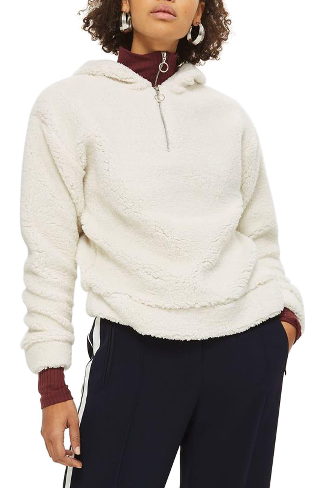 Main Image - Topshop Fleece Quarter-Zip Hoodie