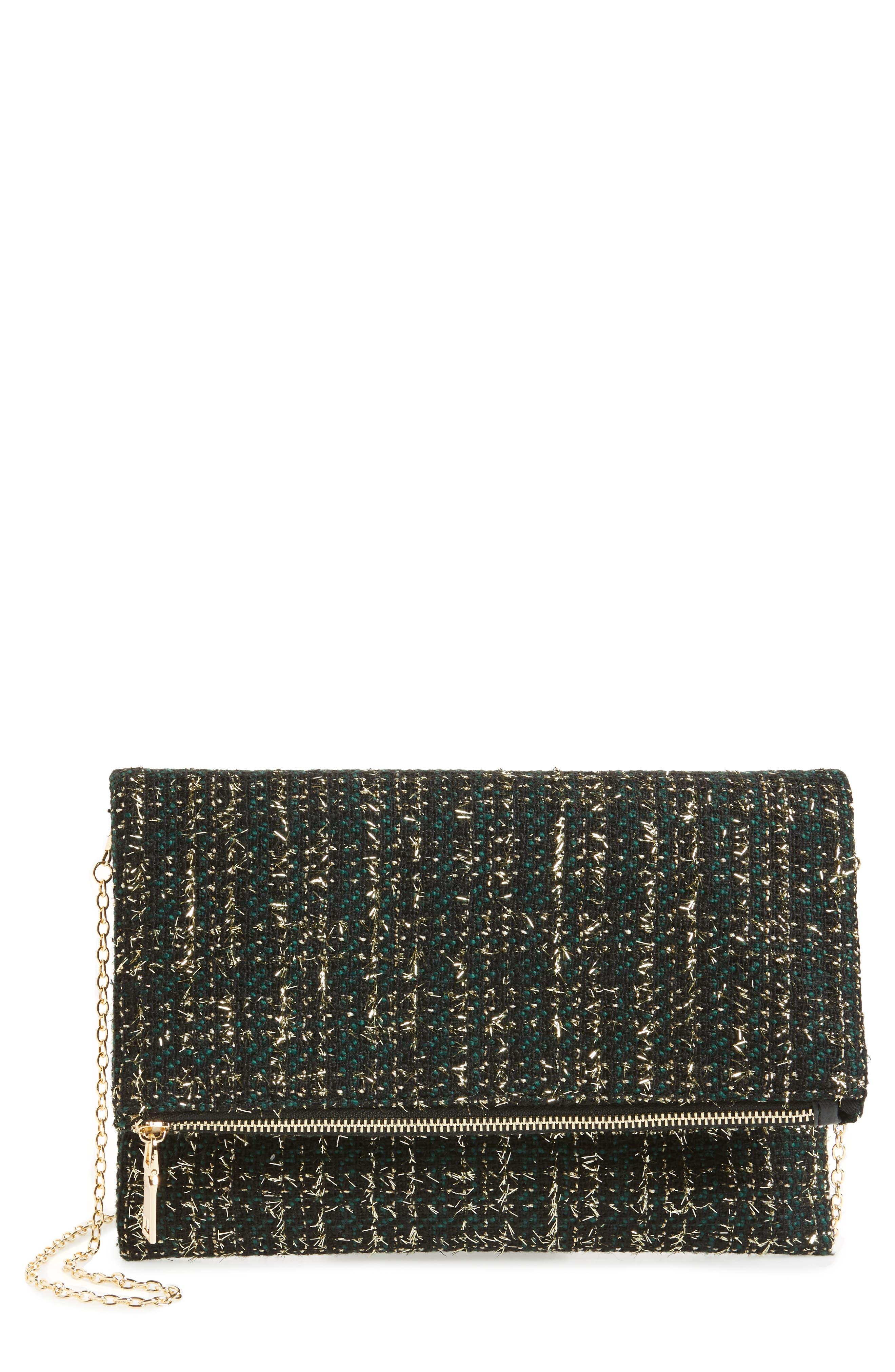Main Image - Sole Society Tweed Foldover Clutch