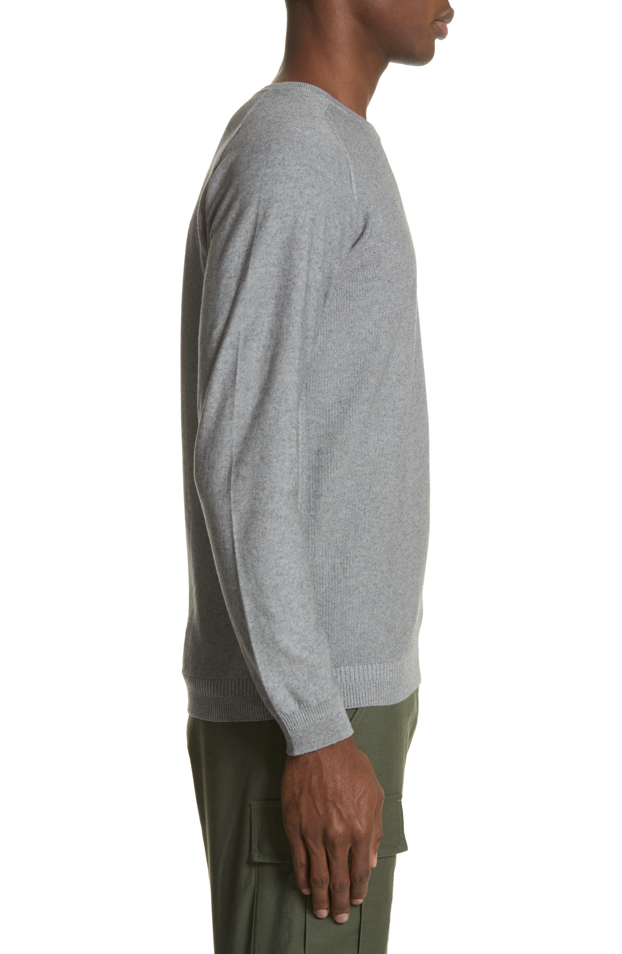 Cotton & Cashmere Sweater,                             Alternate thumbnail 3, color,                             Heather Grey