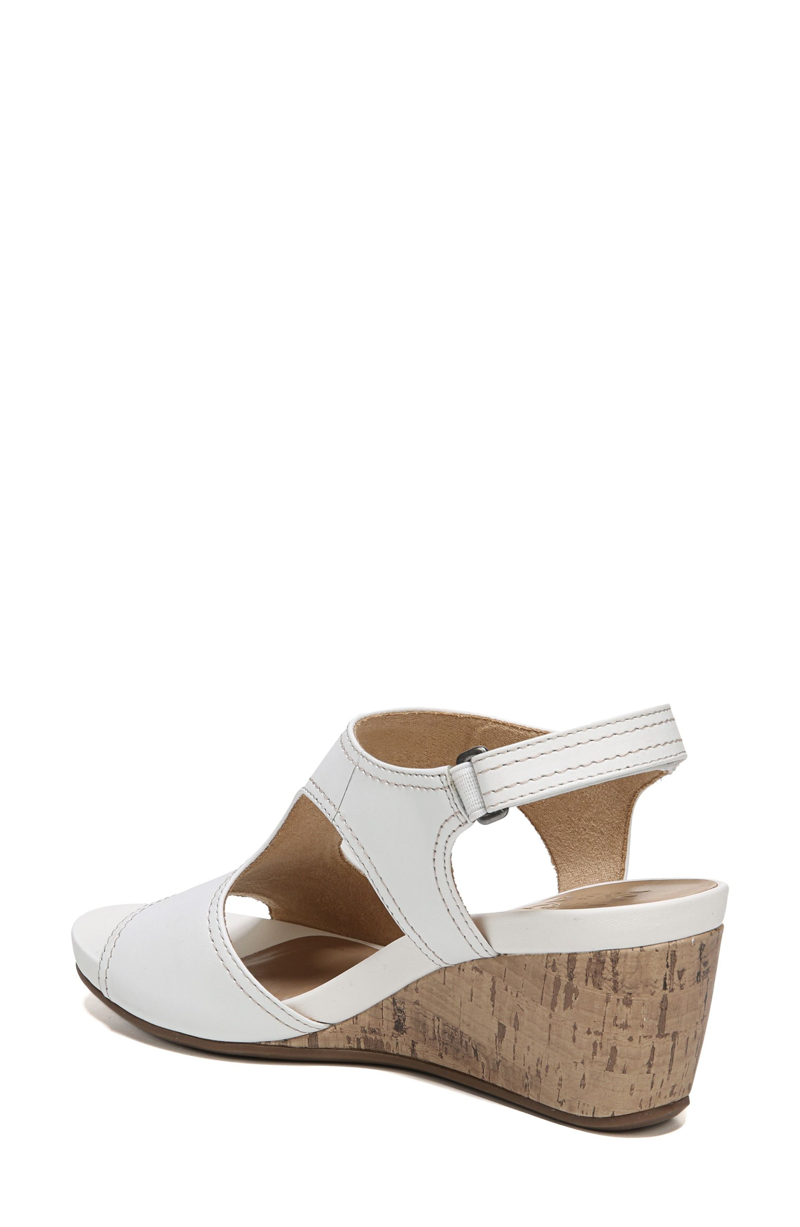 Cinda Wedge Sandal,                             Alternate thumbnail 2, color,                             White Leather