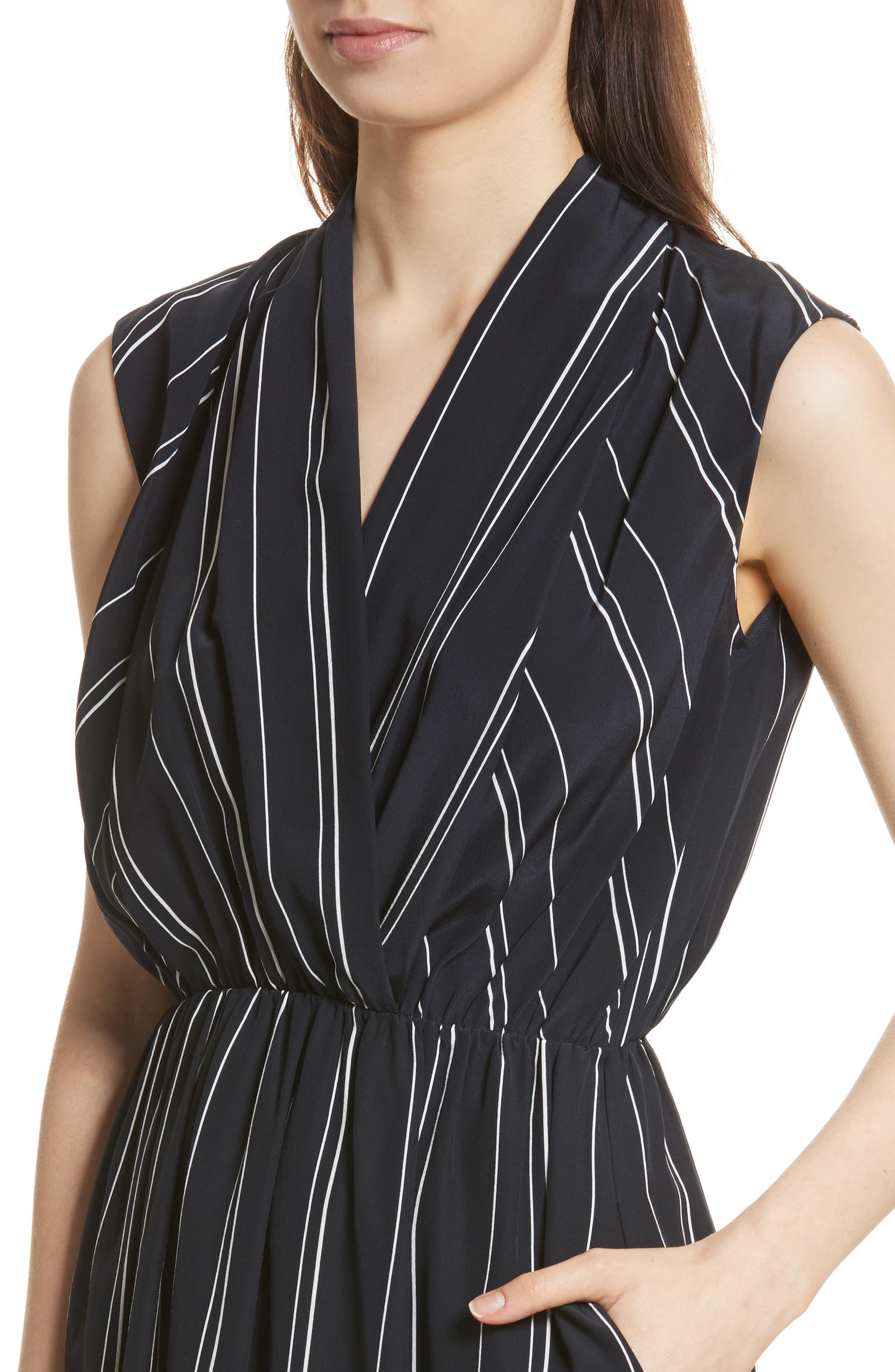 Draped Front Stripe Silk Midi Dress,                             Alternate thumbnail 4, color,                             Coastal