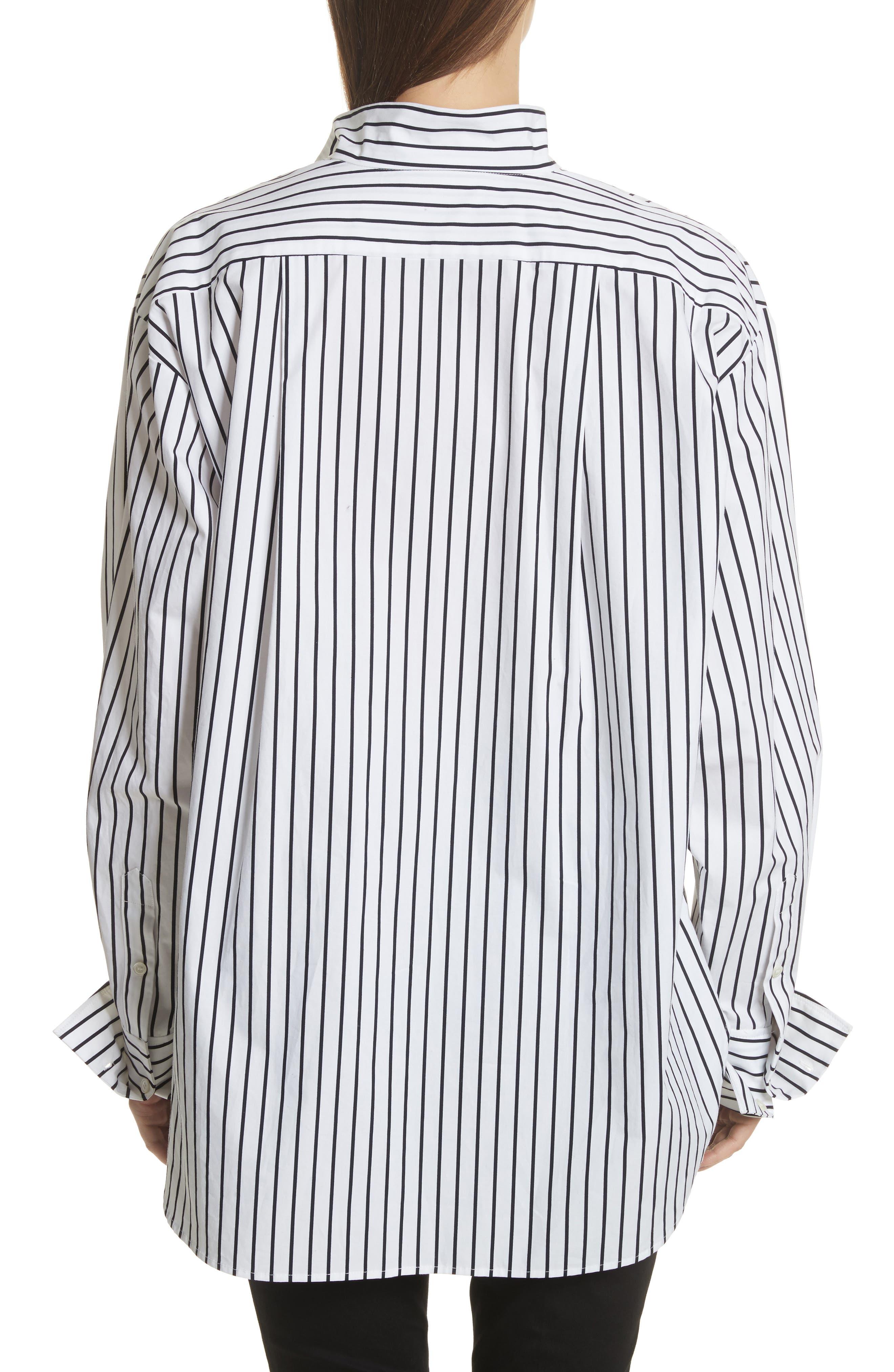 Stripe Cotton Blouse,                             Alternate thumbnail 2, color,                             Navy Multi
