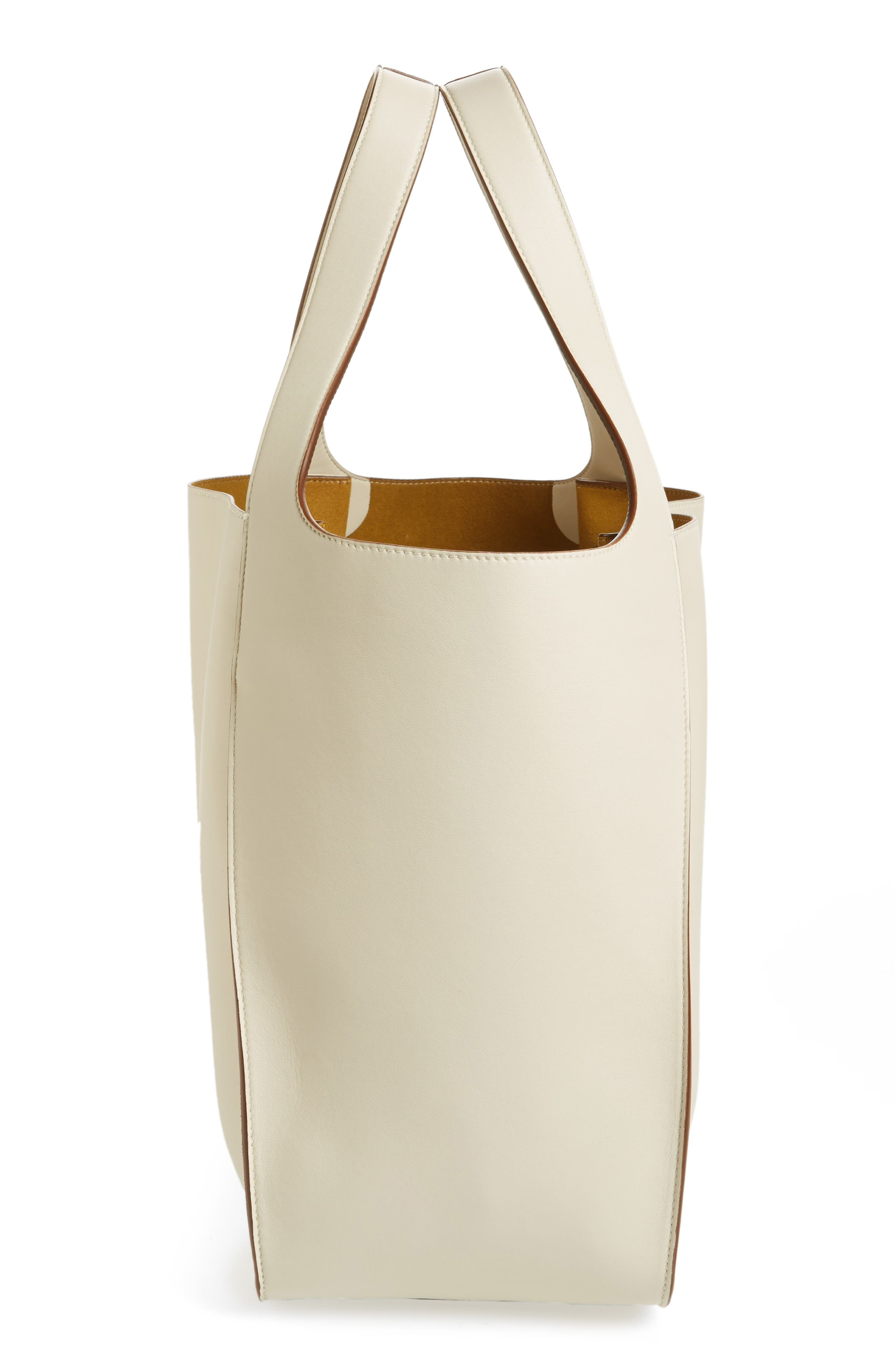 Medium Perforated Logo Faux Leather Tote,                             Alternate thumbnail 5, color,                             Pure White