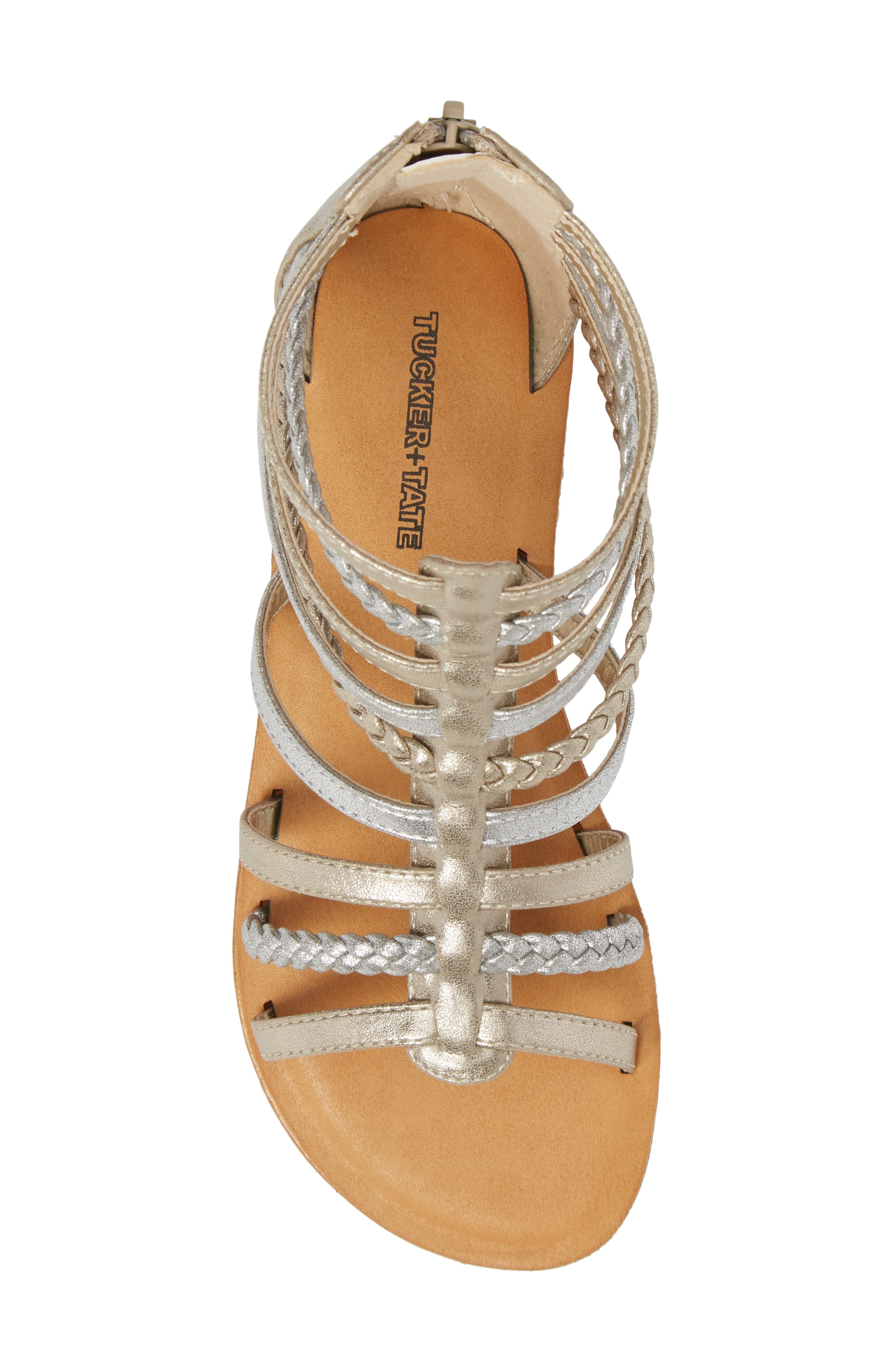 Sonja Braided Gladiator Sandal,                             Alternate thumbnail 5, color,                             Silver/ Gold Faux Leather