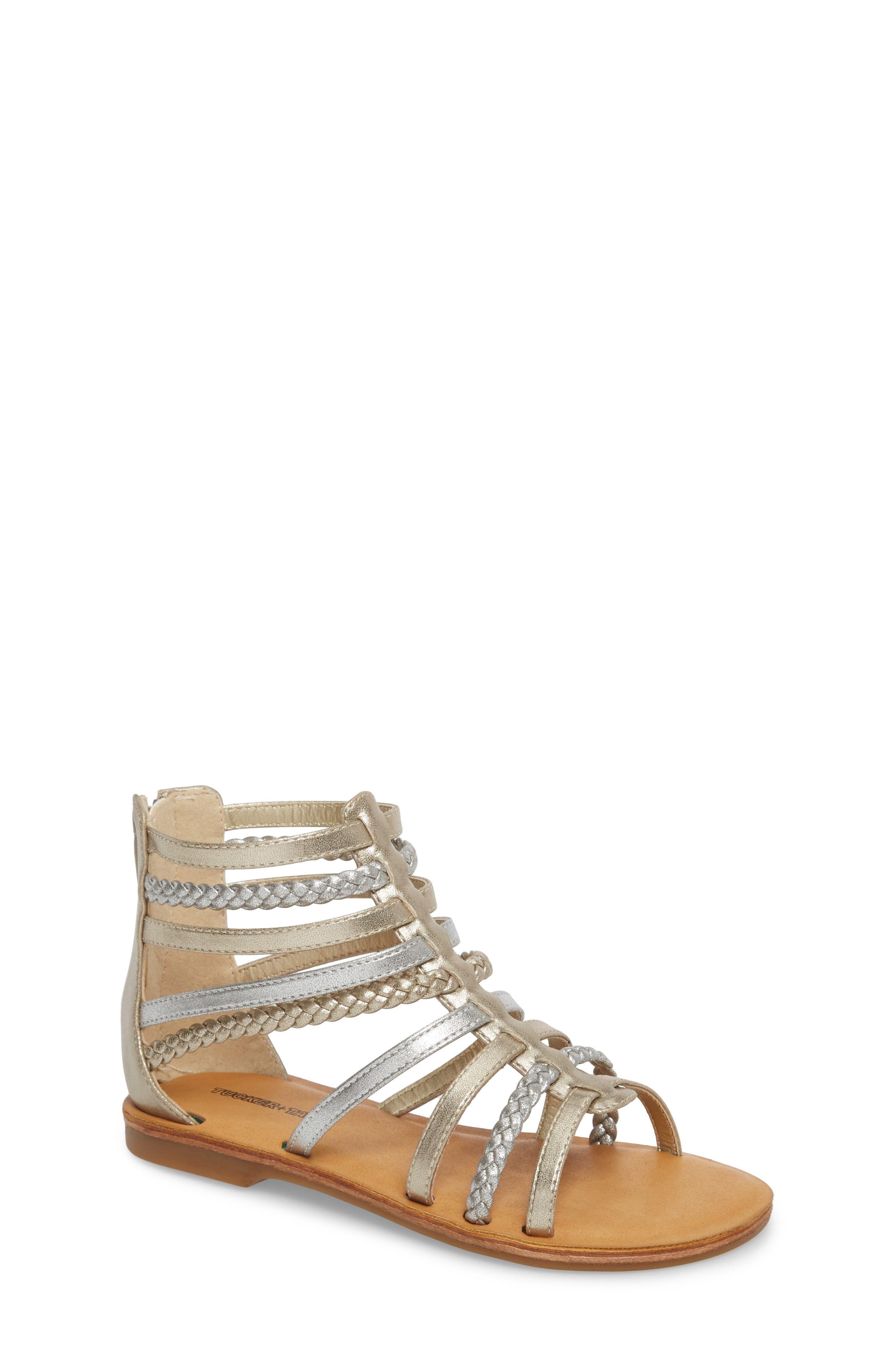 Sonja Braided Gladiator Sandal,                         Main,                         color, Silver/ Gold Faux Leather