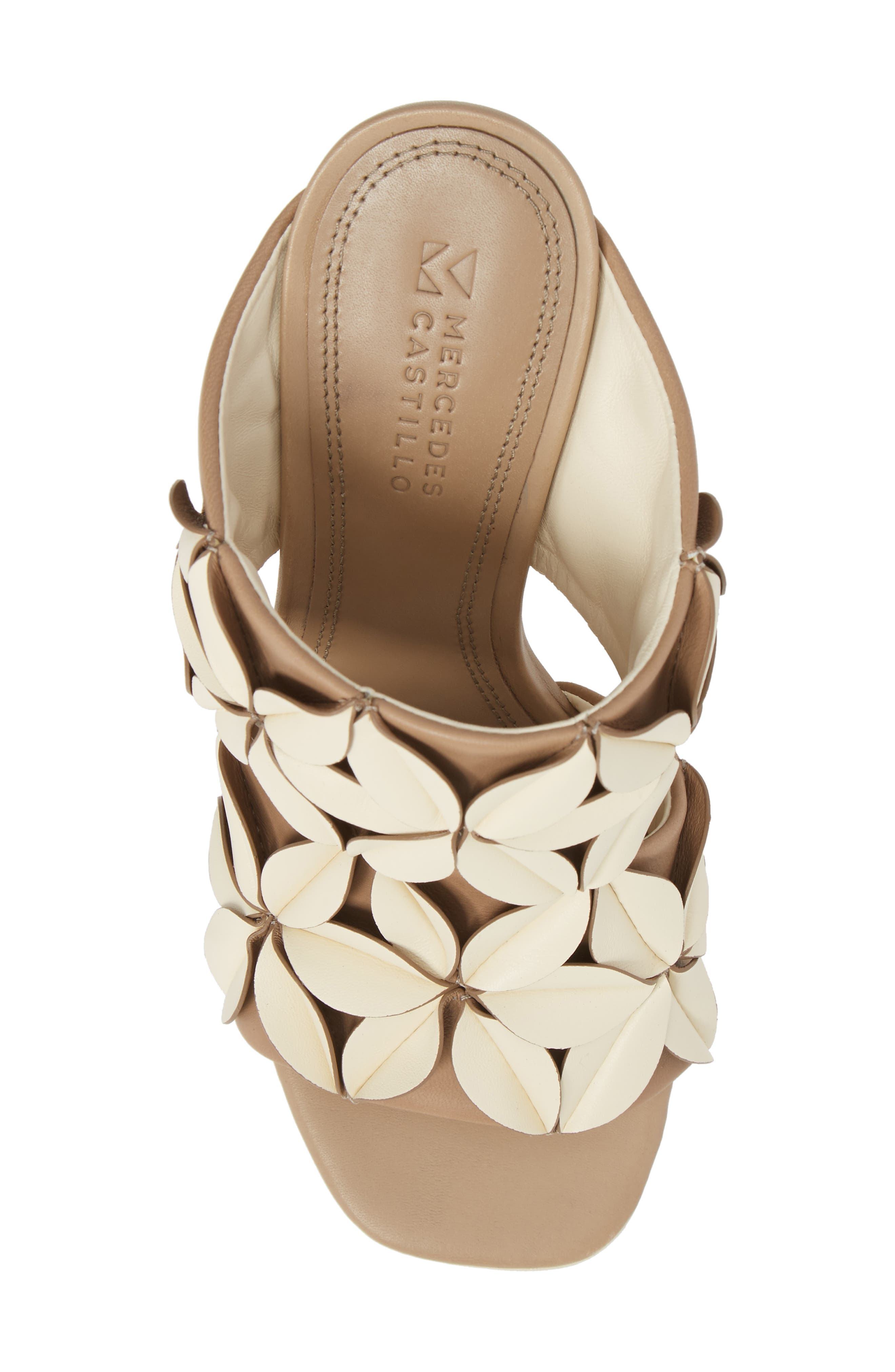 Mura Floral Embellished Mule,                             Alternate thumbnail 4, color,                             Ivory/ Taupe