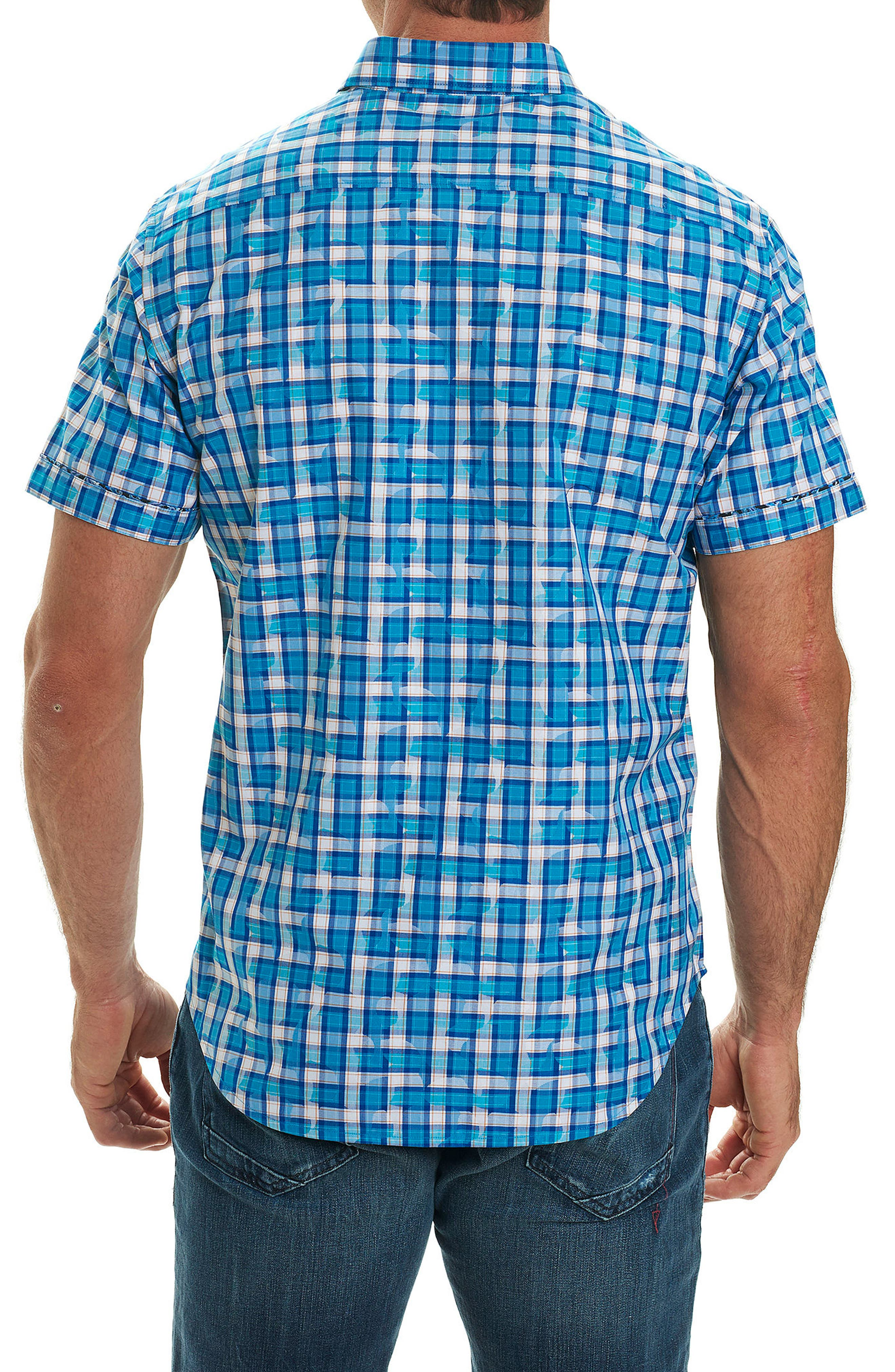 Tangier Classic Fit Print Sport Shirt,                             Alternate thumbnail 2, color,                             Teal
