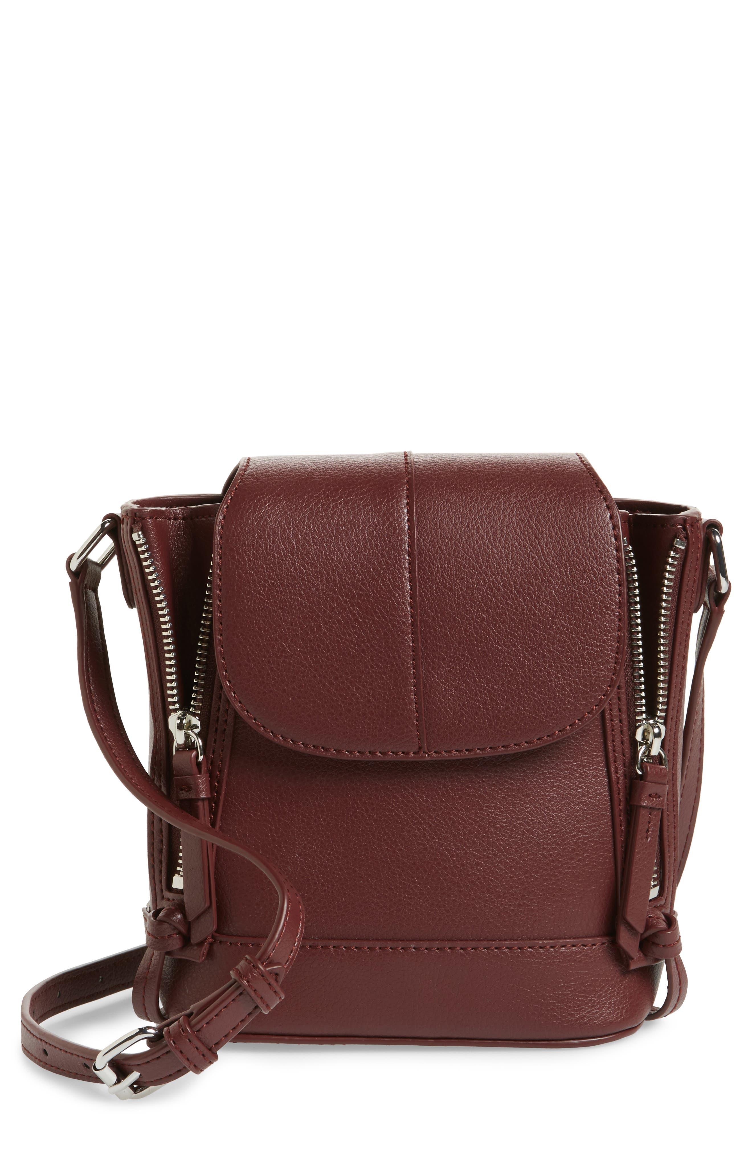 Beckett Leather Crossbody Bag,                             Main thumbnail 1, color,                             Wine