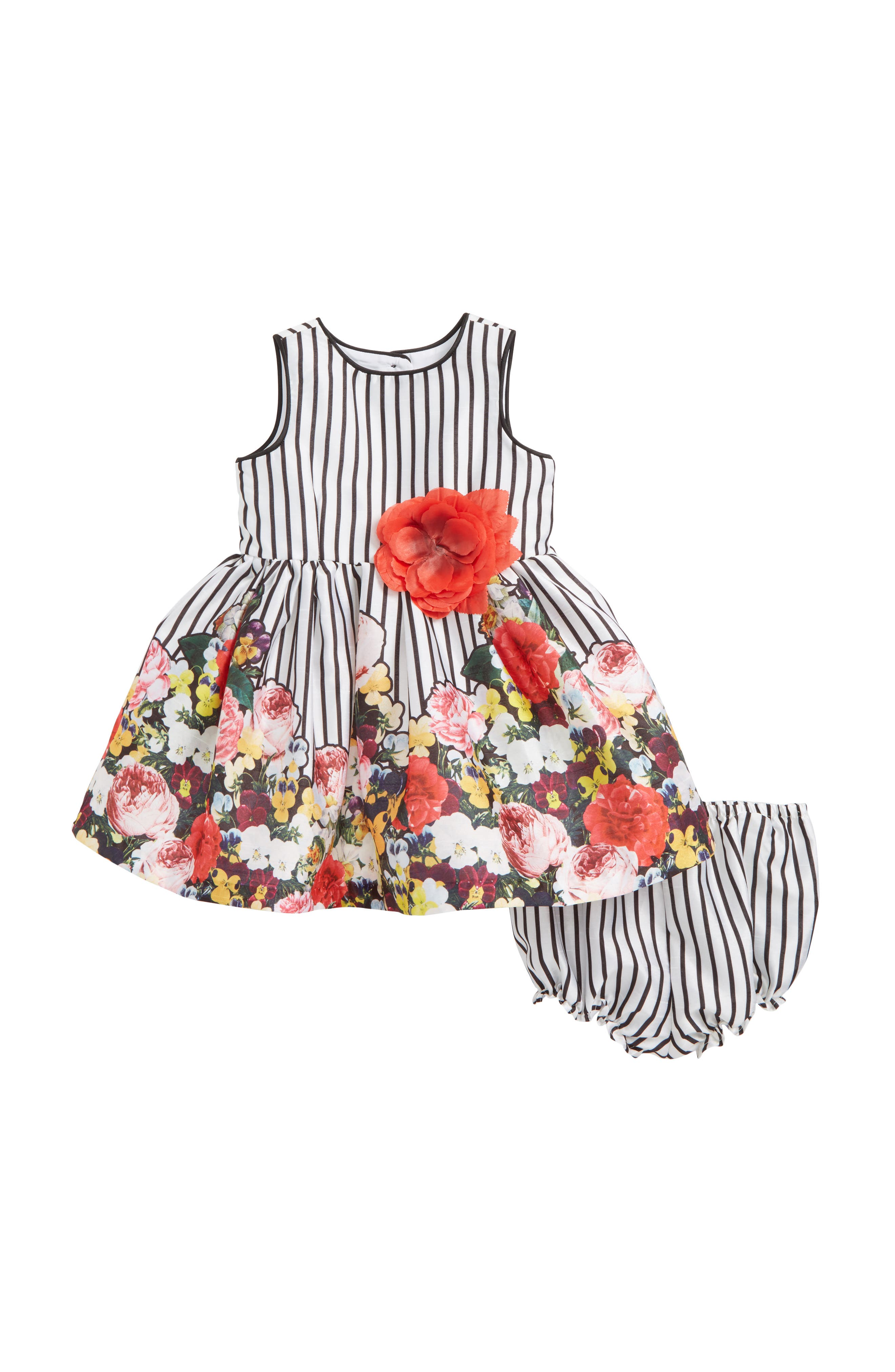 Main Image - Pippa & Julie Stripe Floral Fit & Flare Dress (Baby Girls)