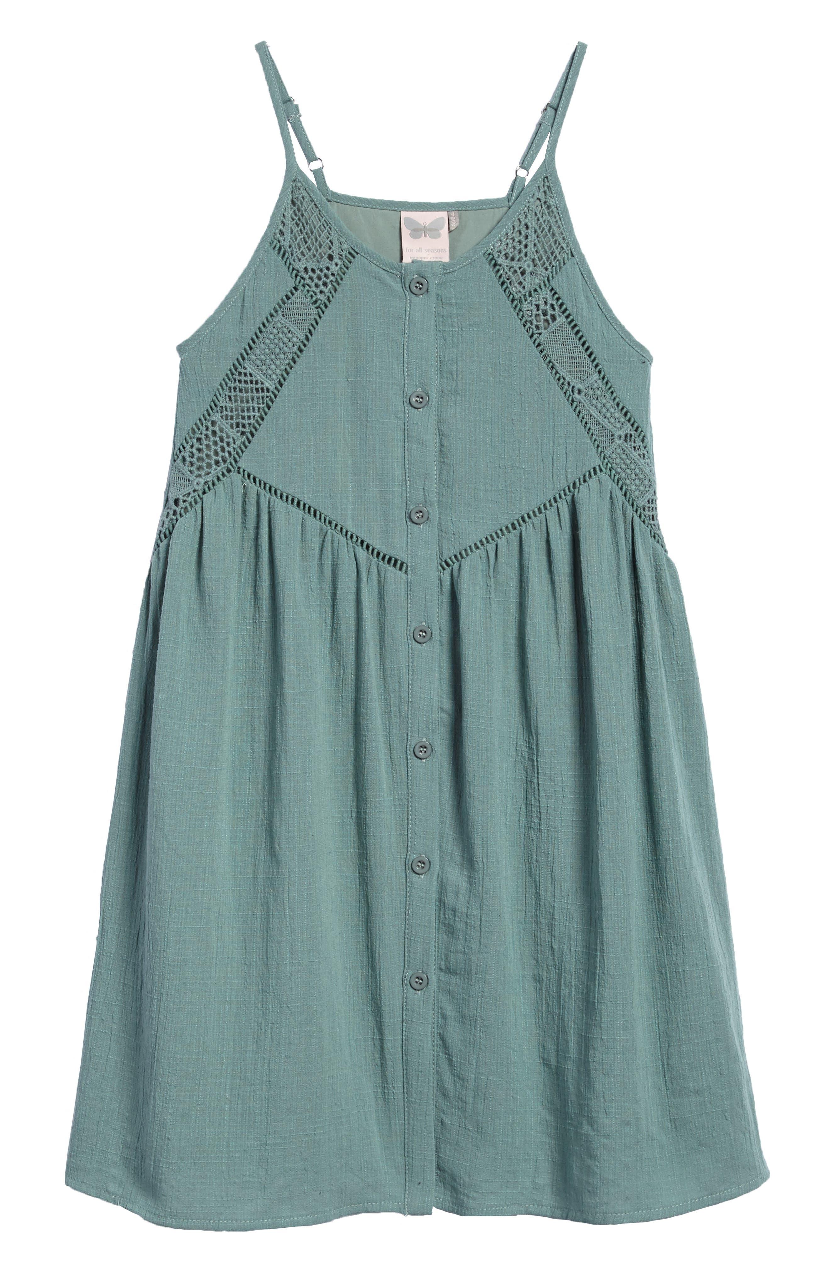Alternate Image 1 Selected - For All Season Woven Tank Dress (Big Girls)
