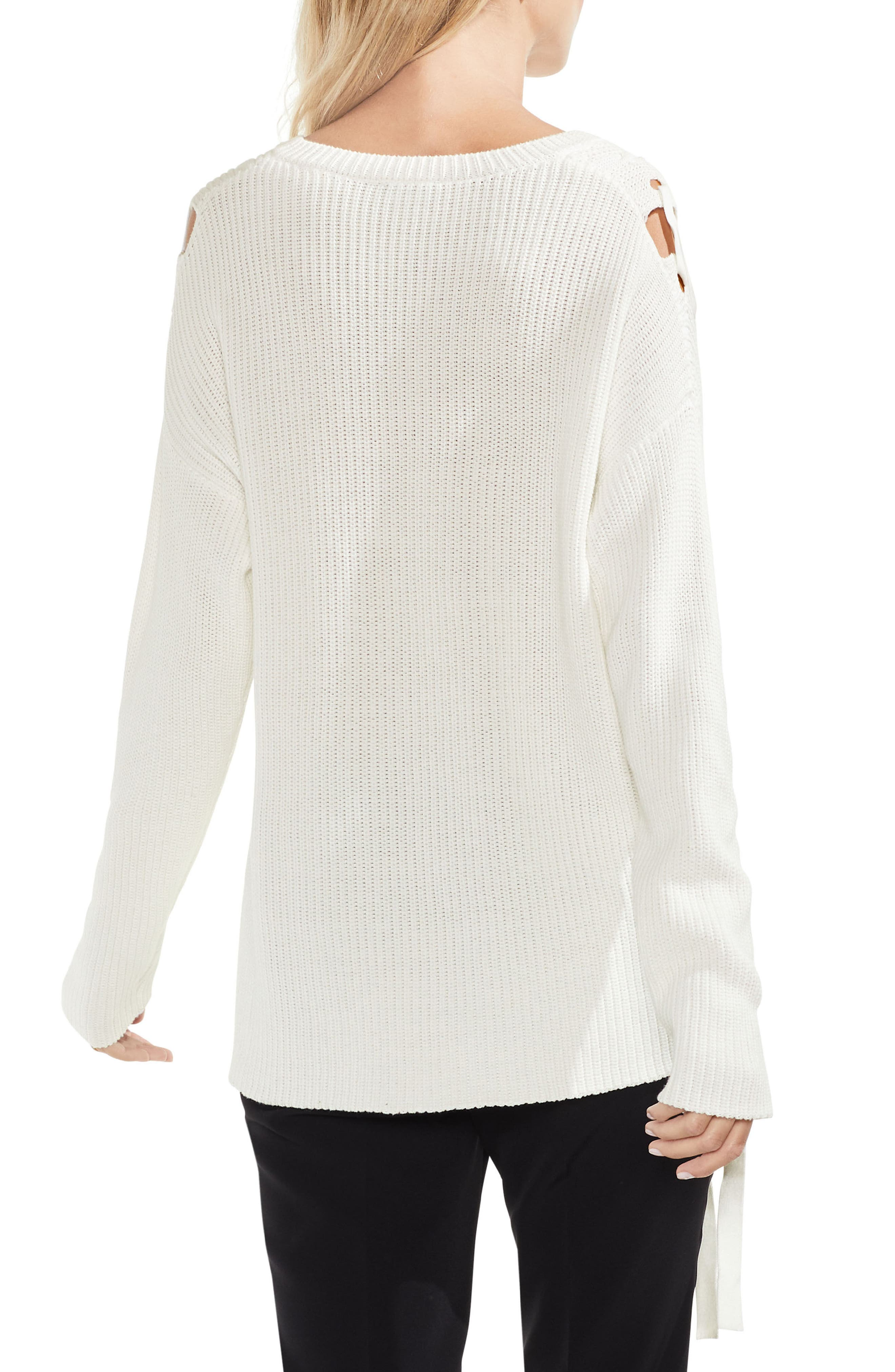 Alternate Image 2  - Vince Camuto Lace-Up Cable Sweater