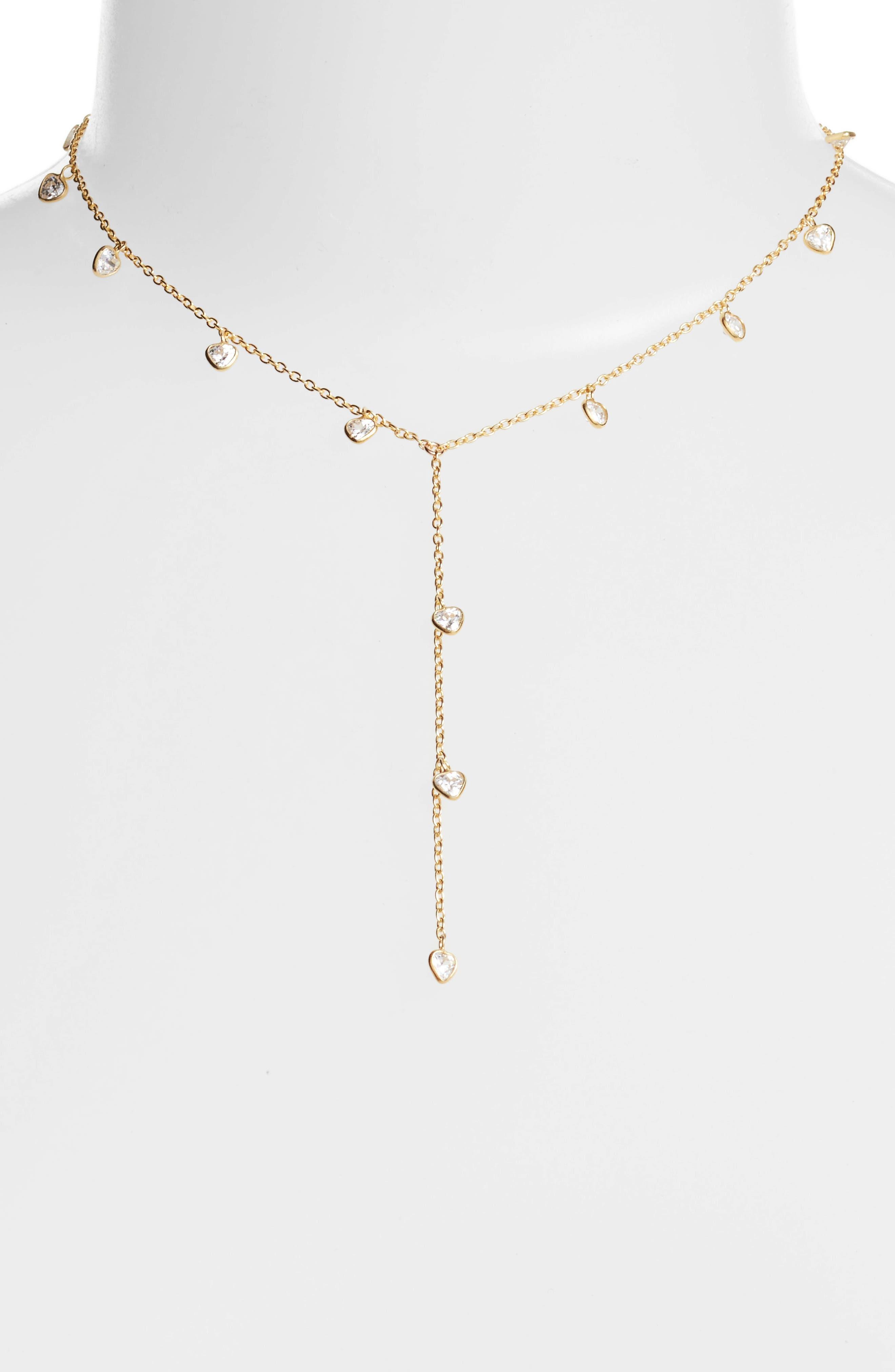 Yaeli Cubic Zirconia Y-Necklace,                             Main thumbnail 1, color,                             Gold