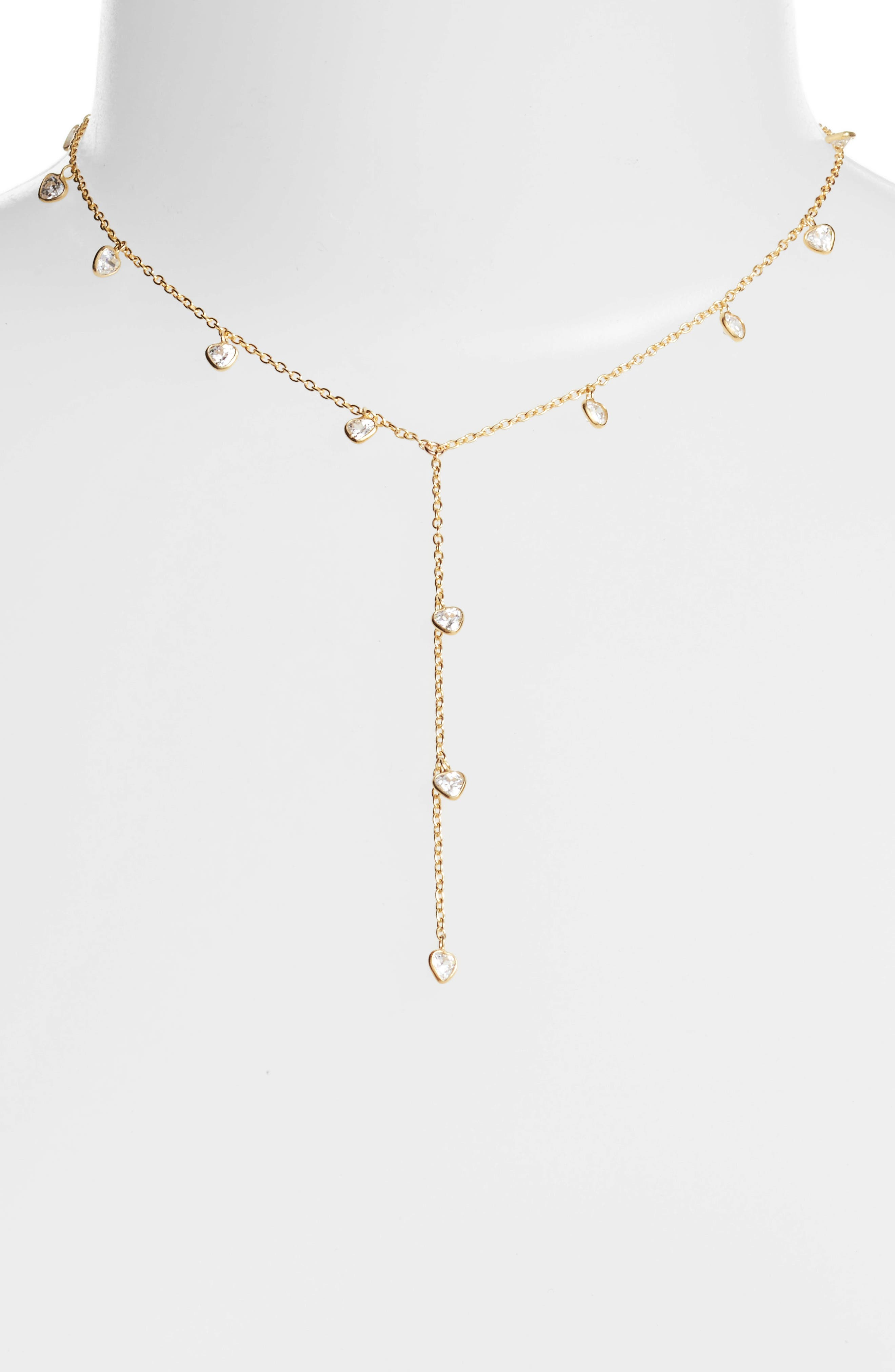 Yaeli Cubic Zirconia Y-Necklace,                         Main,                         color, Gold