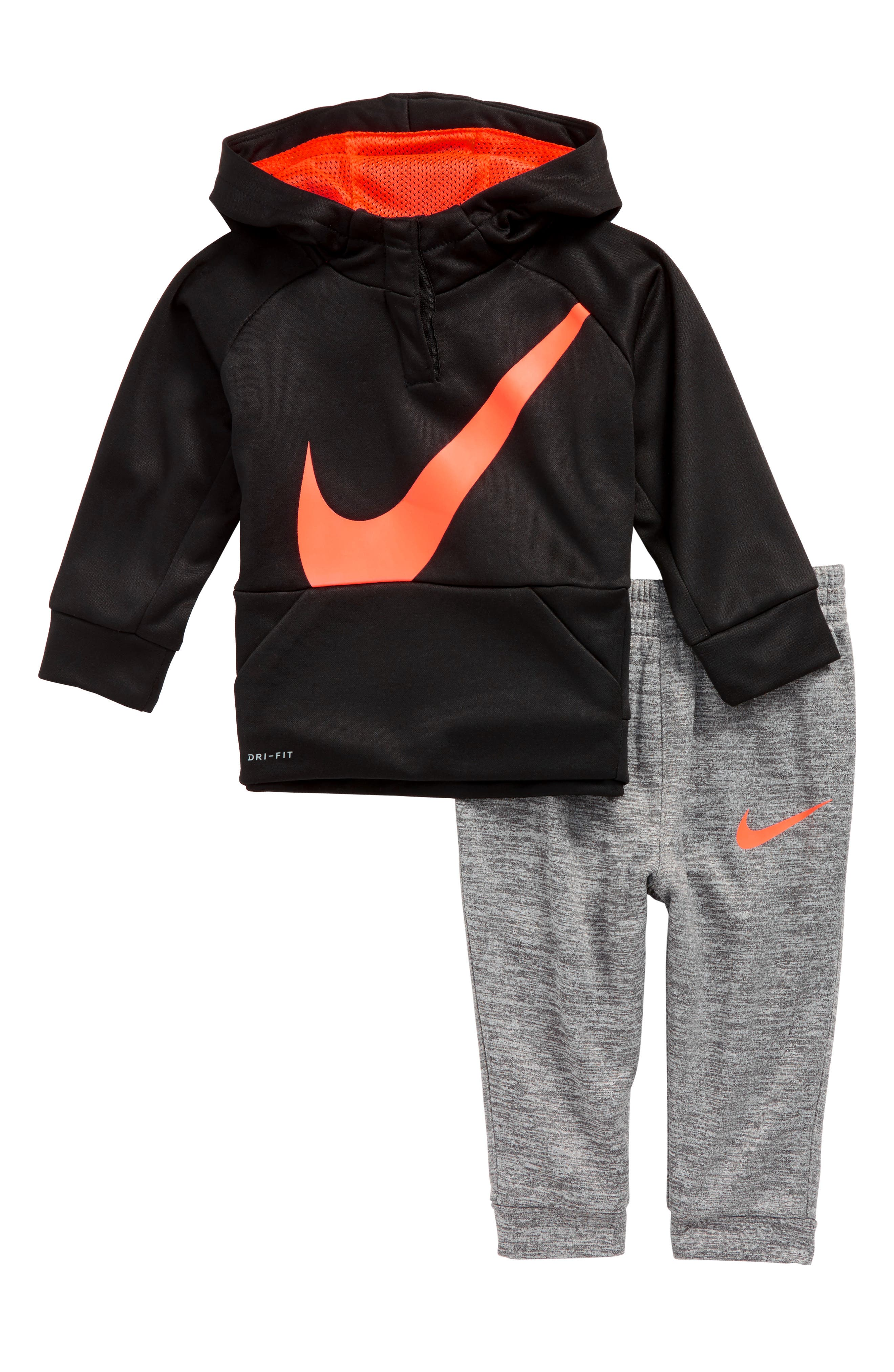 Swoosh Therma-FIT Oversize Hoodie & Pants Set,                         Main,                         color, Black