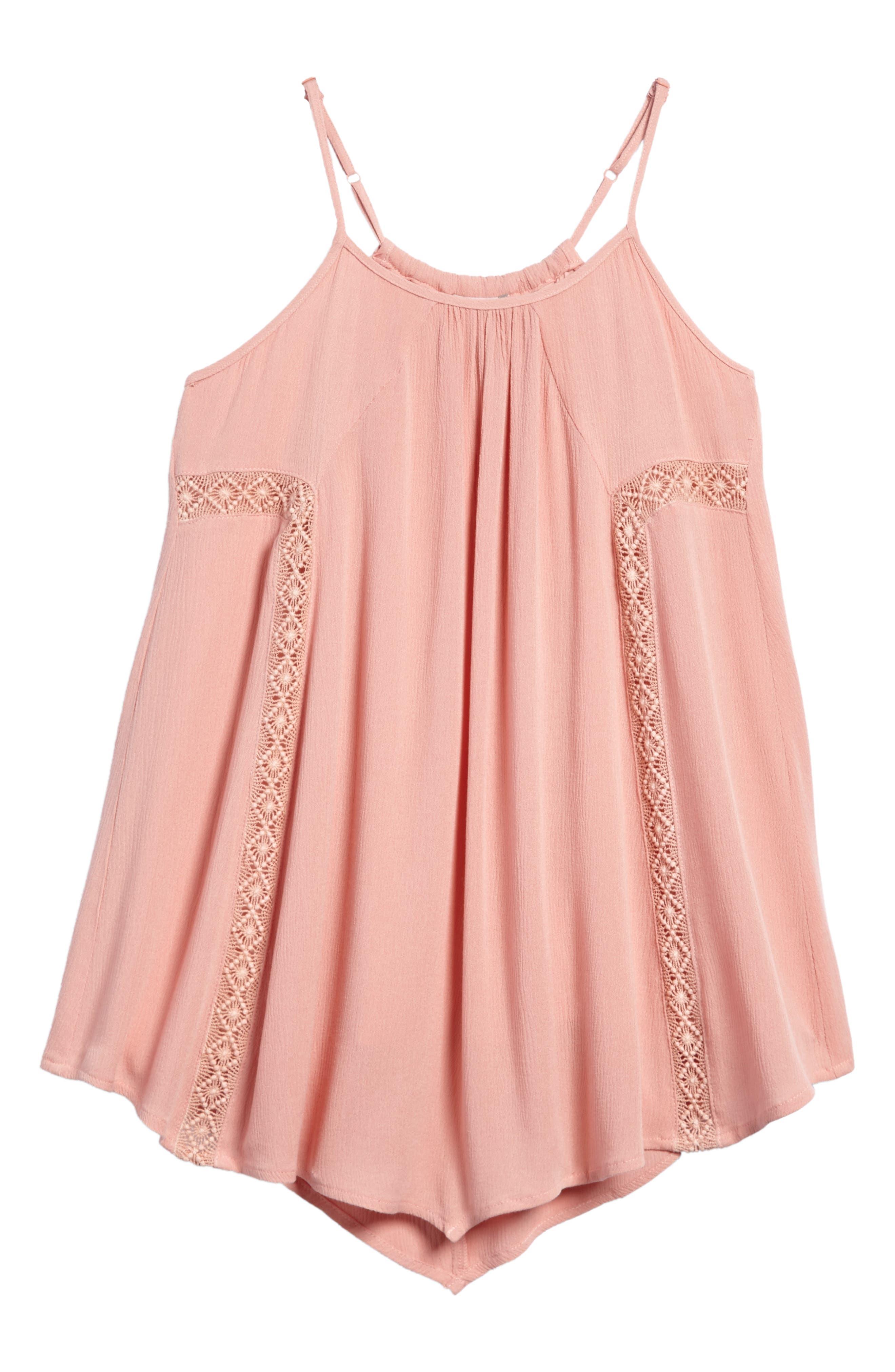 Lace Trim Trapeze Dress,                         Main,                         color, Coral