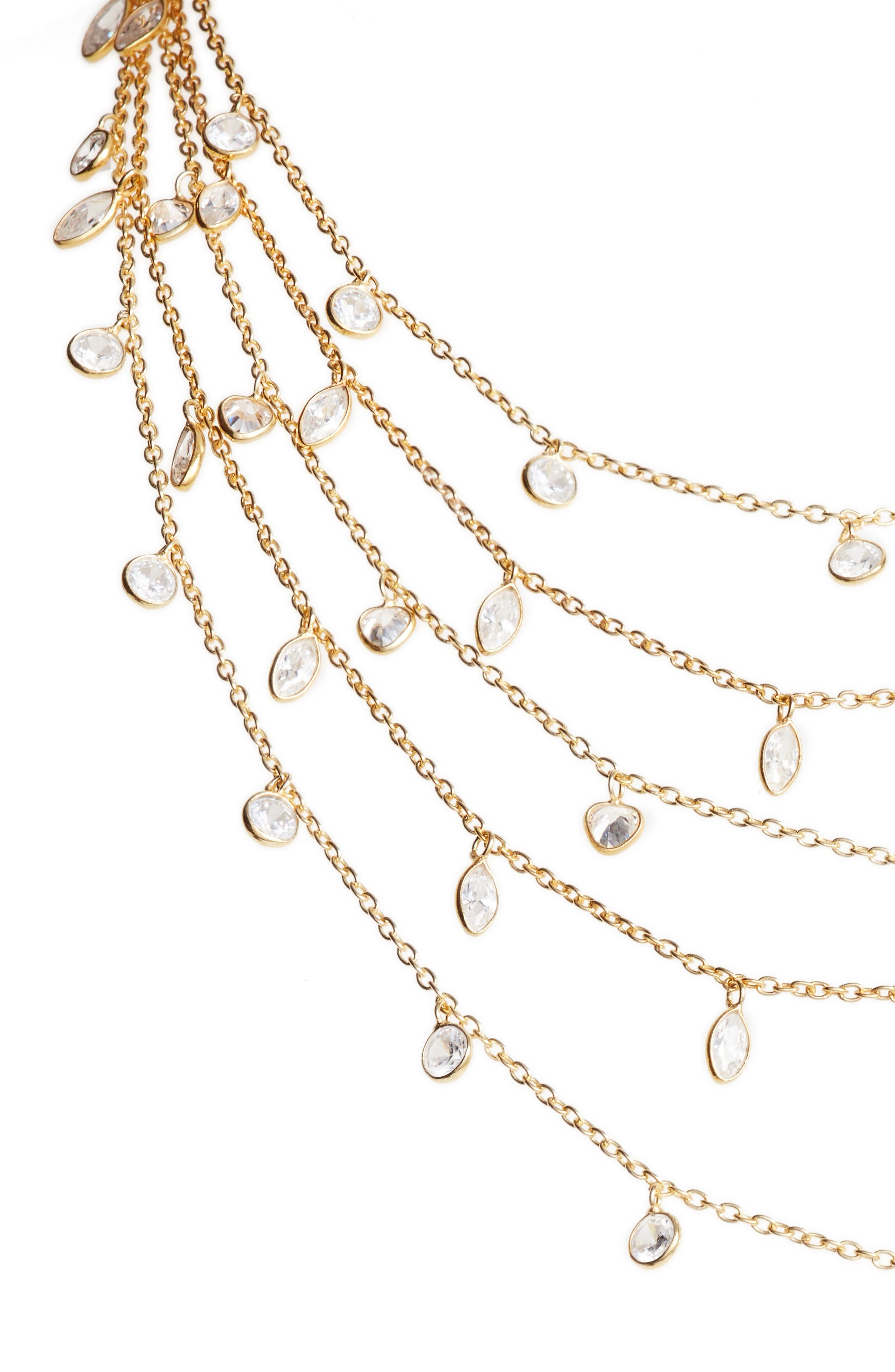 Multistrand Cubic Zirconia Necklace,                             Alternate thumbnail 2, color,                             Gold