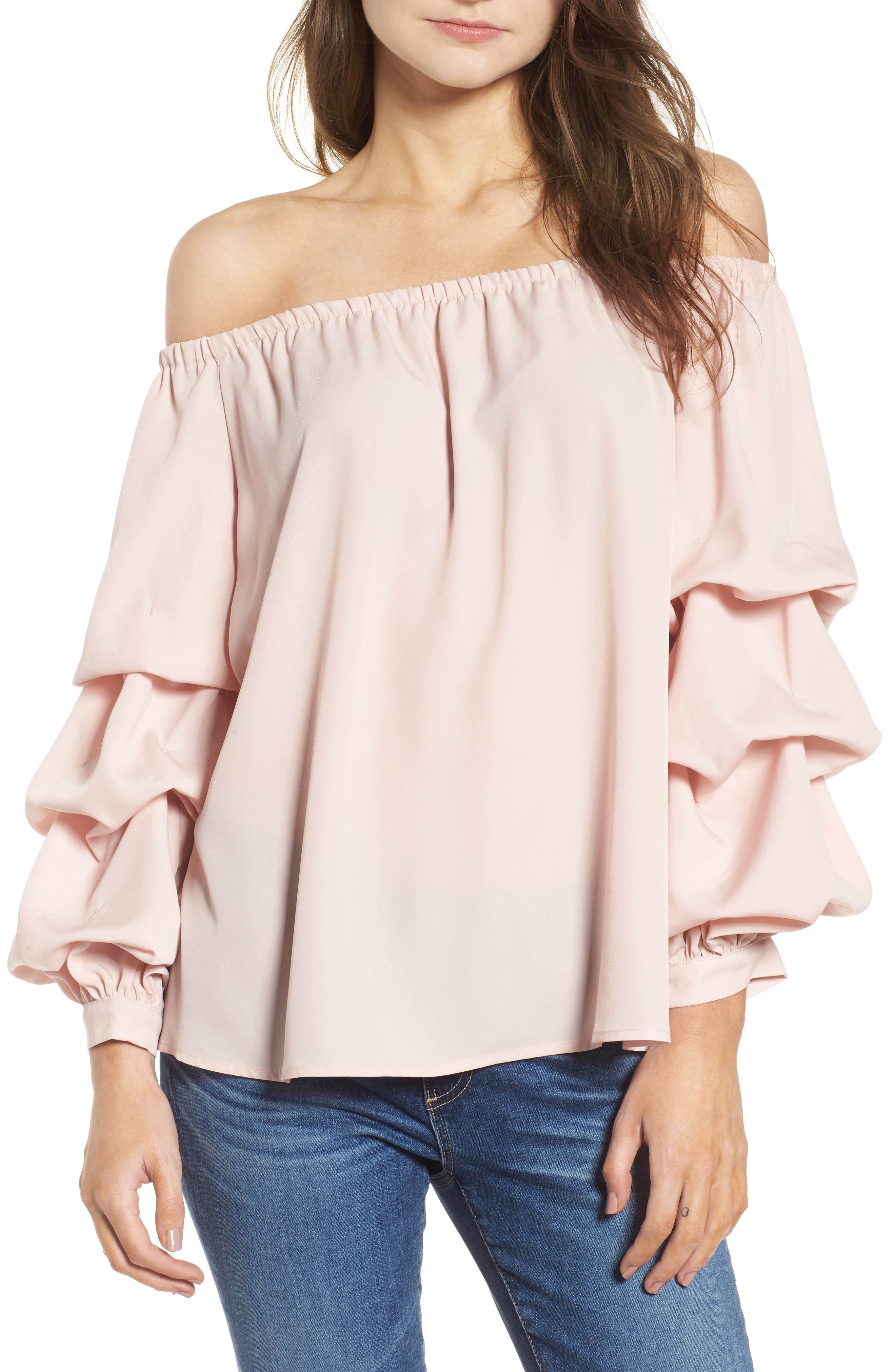 Off the Shoulder Top,                             Main thumbnail 1, color,                             Pink Peach