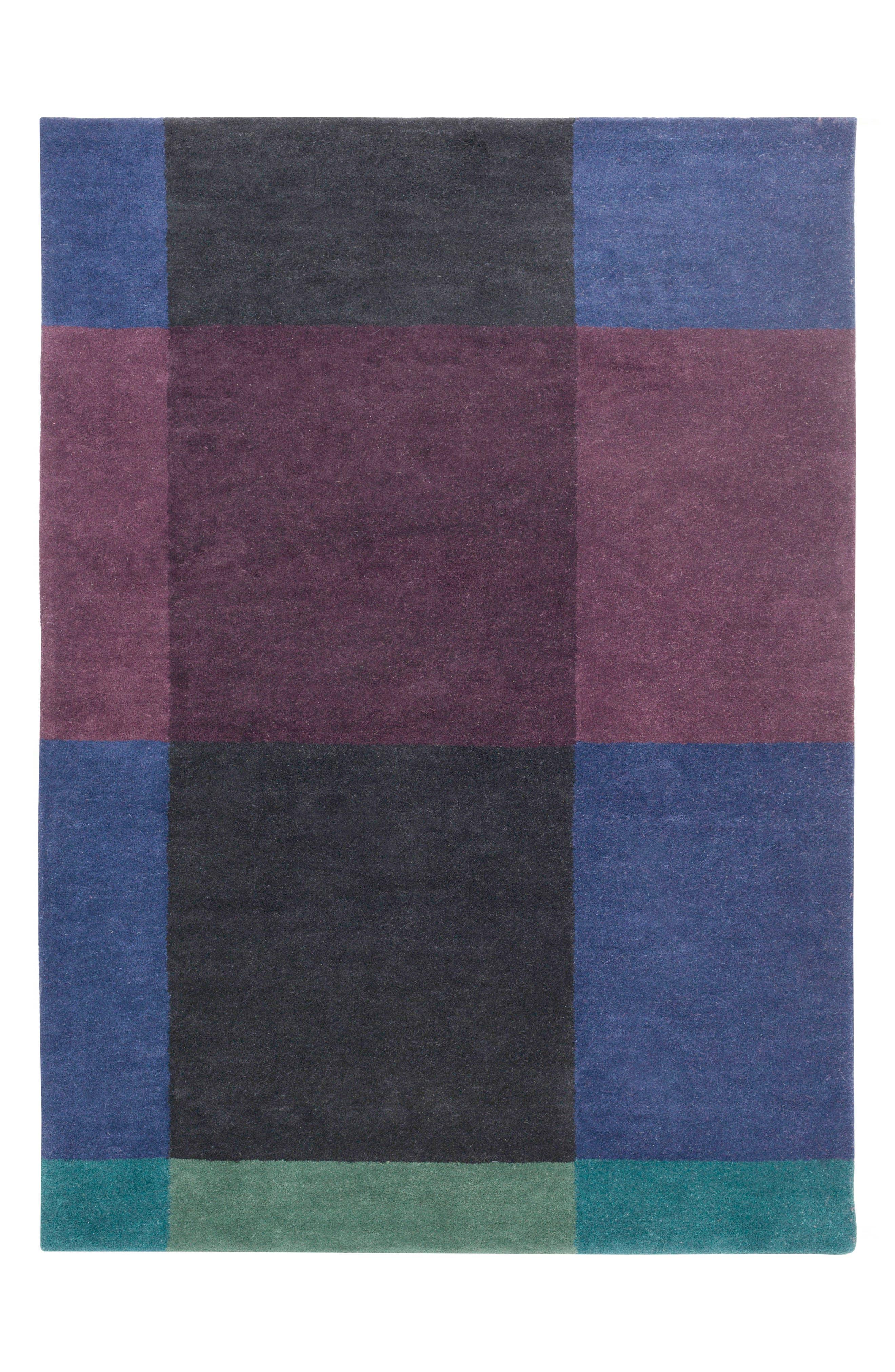 x Surya Plaid Wool Rug,                             Main thumbnail 1, color,                             Blue
