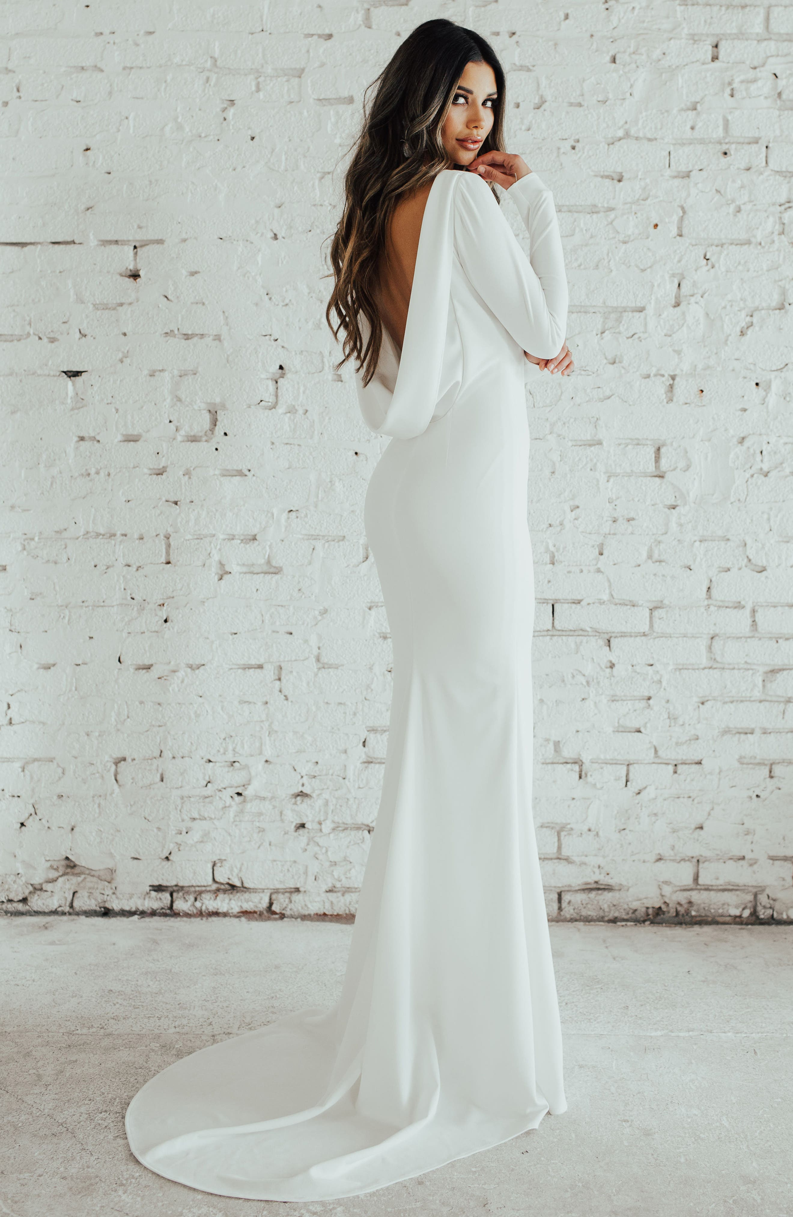 Cowl Back Crepe Gown,                             Alternate thumbnail 6, color,                             Ivory