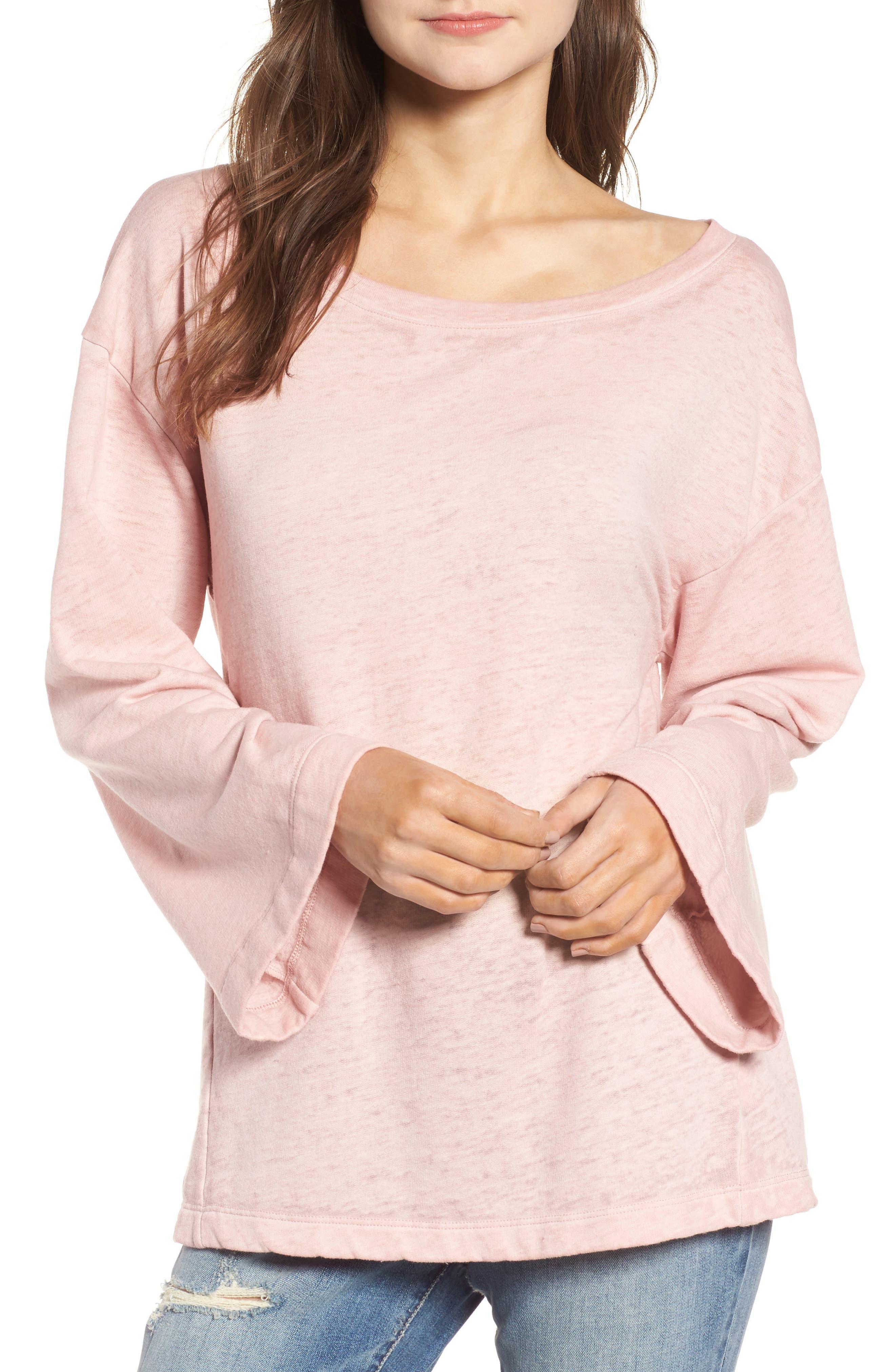 Bell Sleeve Sweatshirt,                             Main thumbnail 1, color,                             Pink Silver