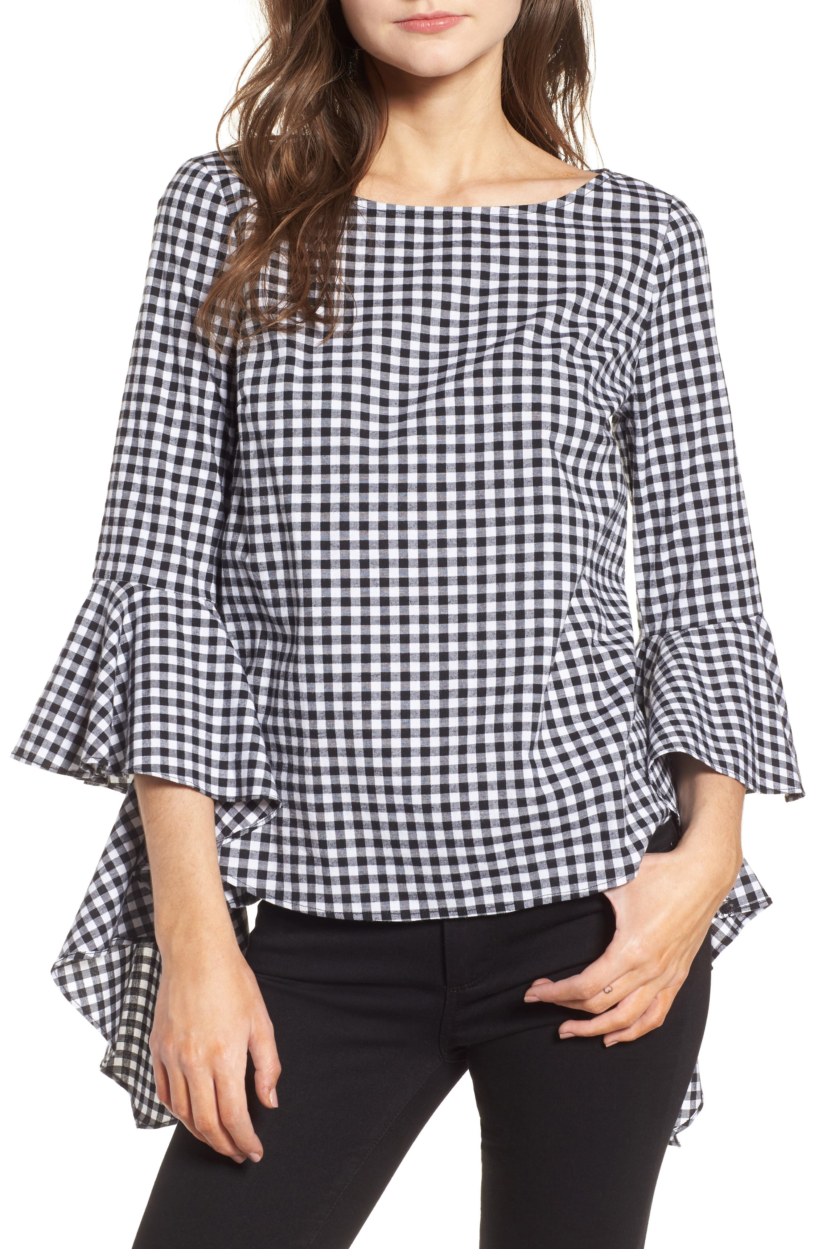 Gingham Ruffle Sleeve Top,                             Main thumbnail 1, color,                             Black- White Gingham