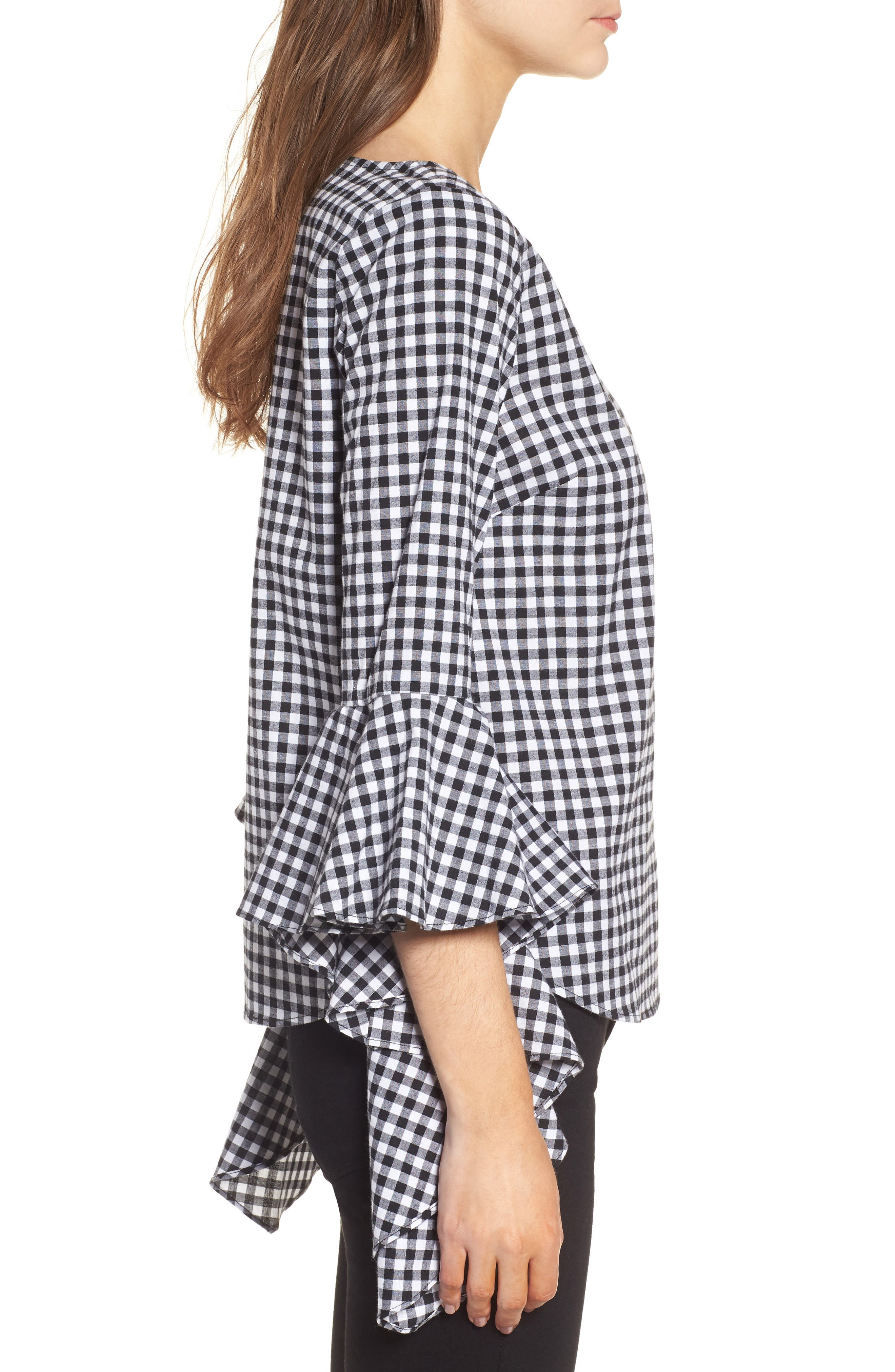 Gingham Ruffle Sleeve Top,                             Alternate thumbnail 3, color,                             Black- White Gingham