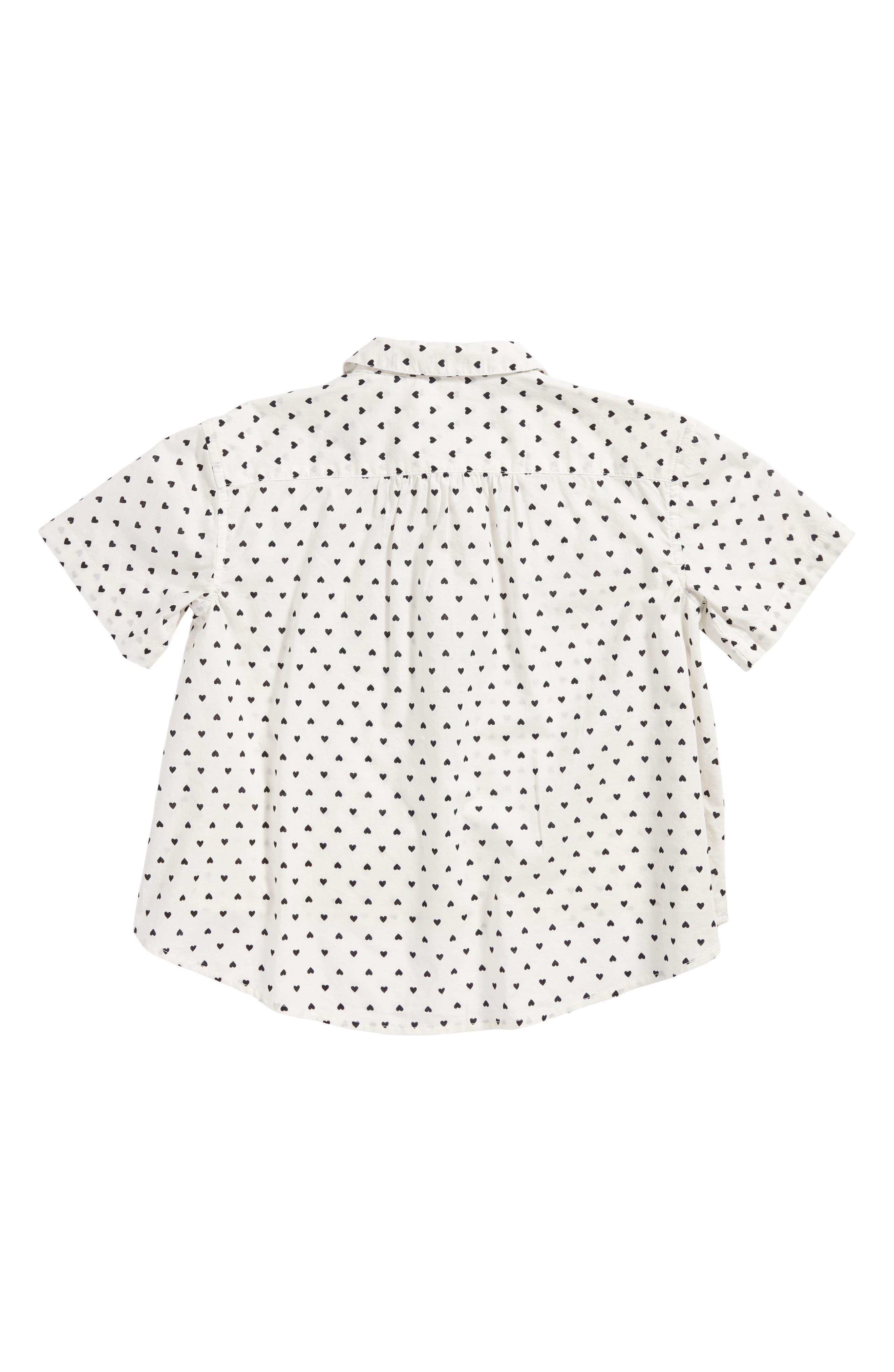 Heart Print Cotton Top,                             Alternate thumbnail 2, color,                             White- Black Hearts