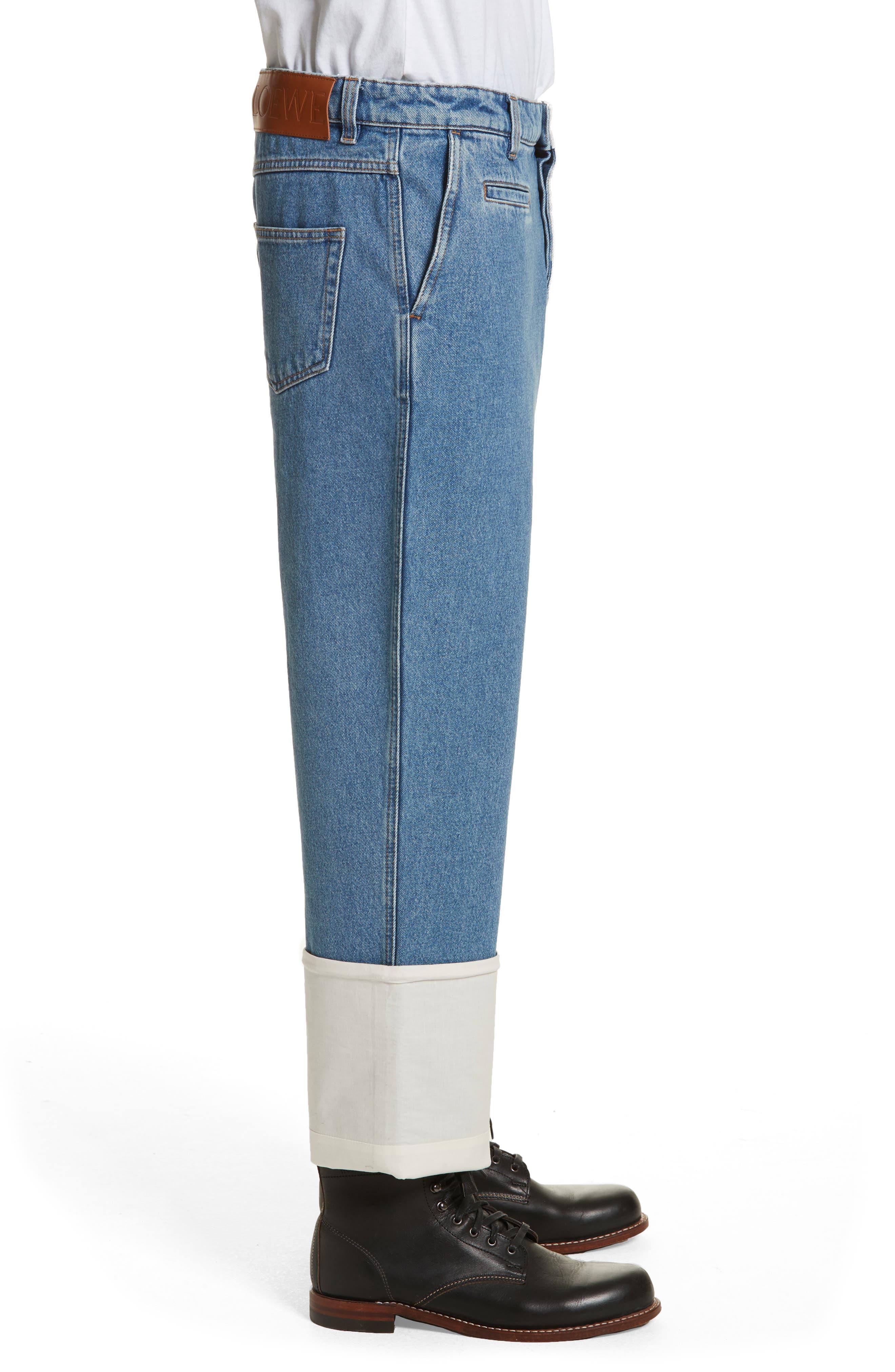 Fisherman Wide Leg Stonewash Jeans,                             Alternate thumbnail 3, color,                             Blue