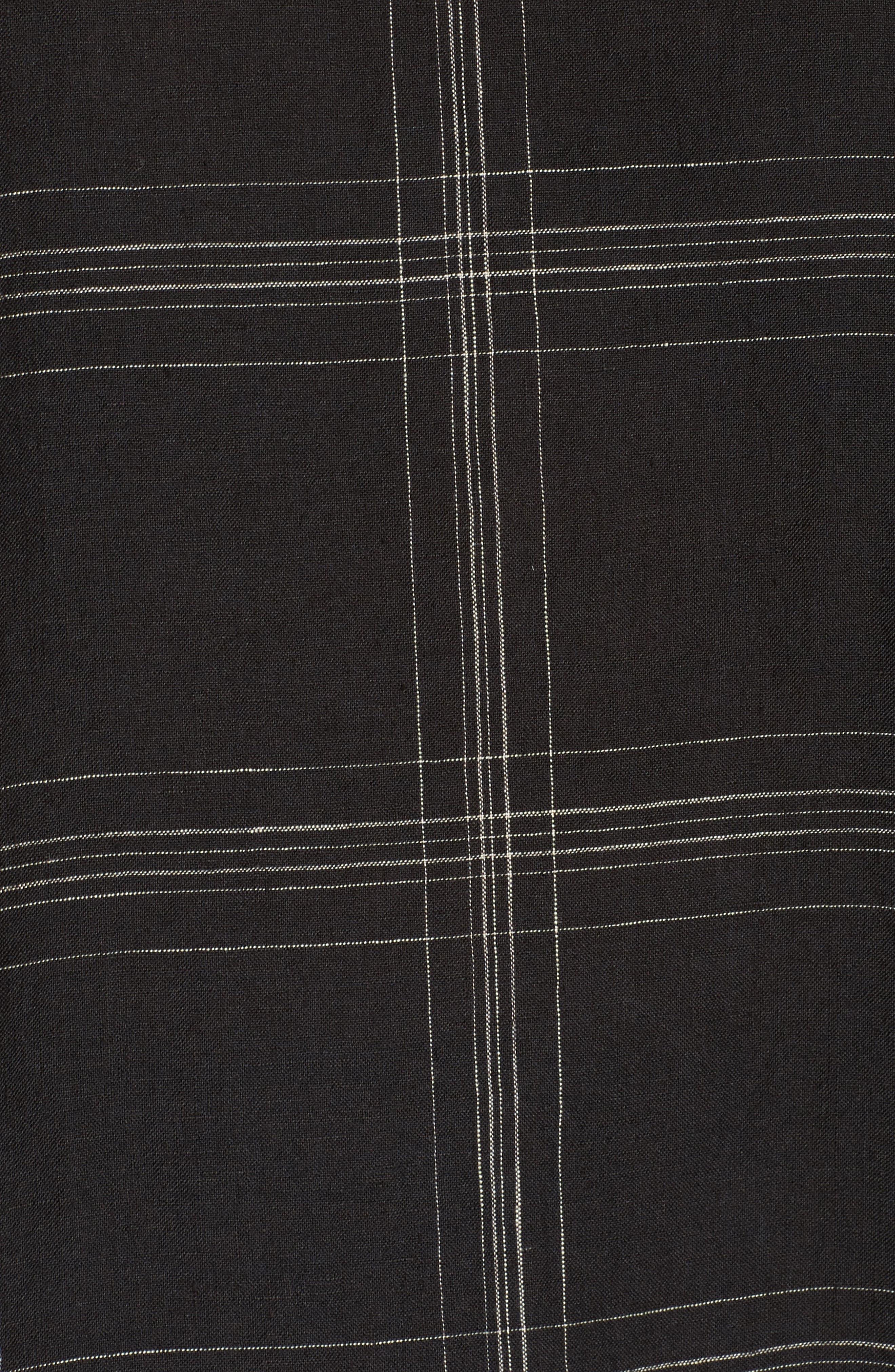 Plaid Organic Linen Tunic,                             Alternate thumbnail 5, color,                             Black
