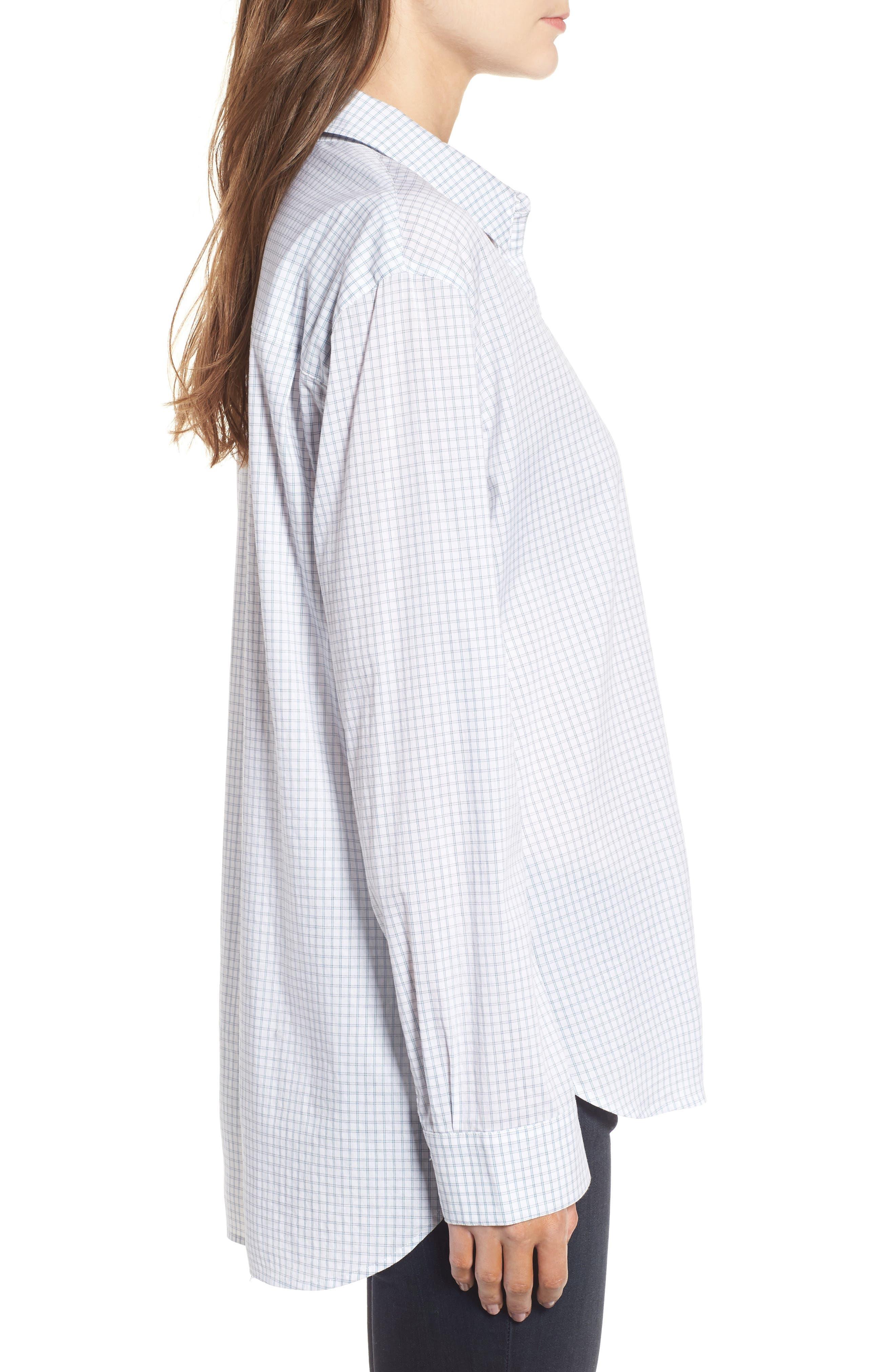 Oversize Check Shirt,                             Alternate thumbnail 3, color,                             White Blue Poplin Check