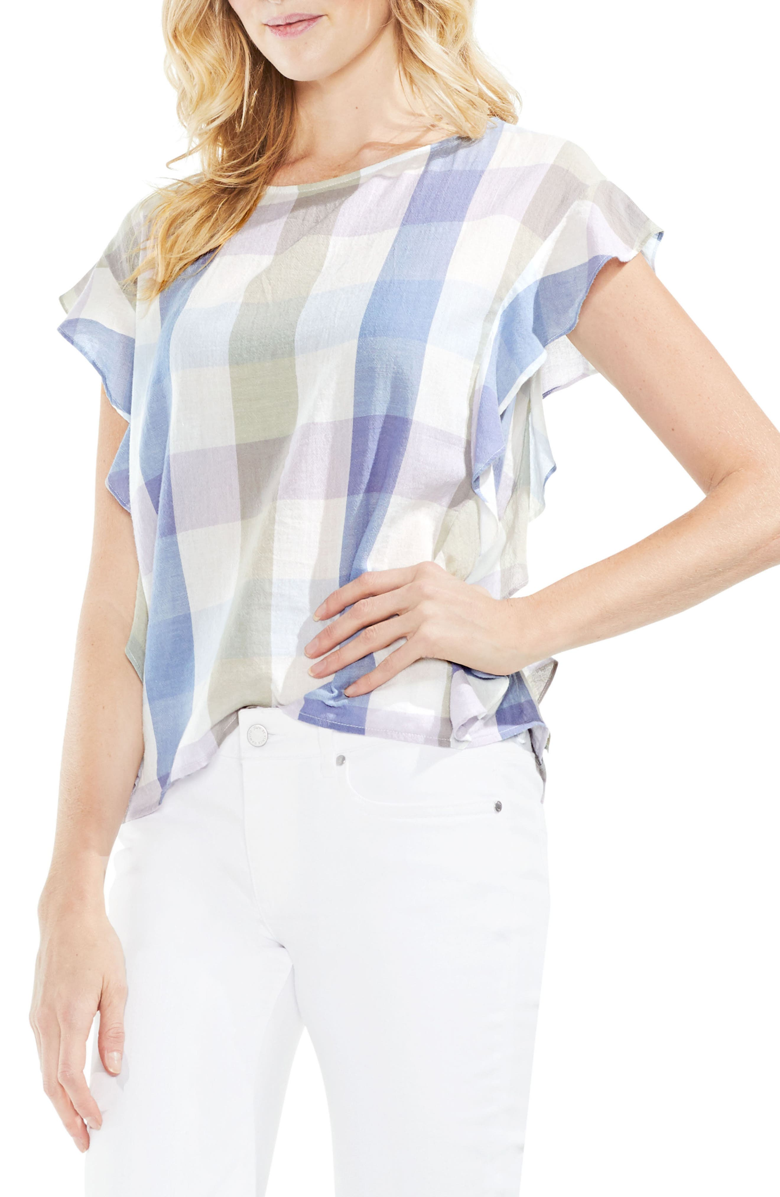 Pastel Haze Plaid Ruffle Sleeve Top,                         Main,                         color, Oxford Blue