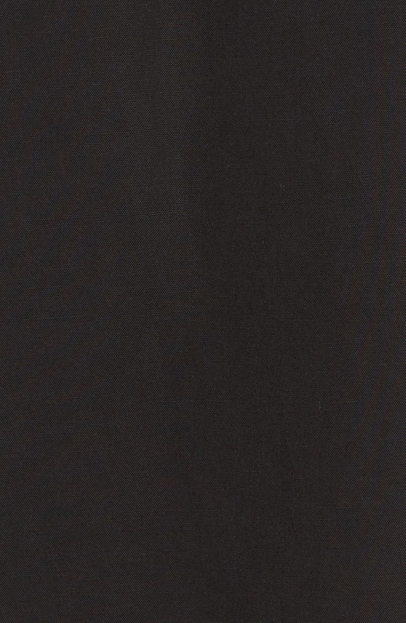 Tencel<sup>®</sup> Lyocell & Linen Midi Skirt,                             Alternate thumbnail 5, color,                             Black