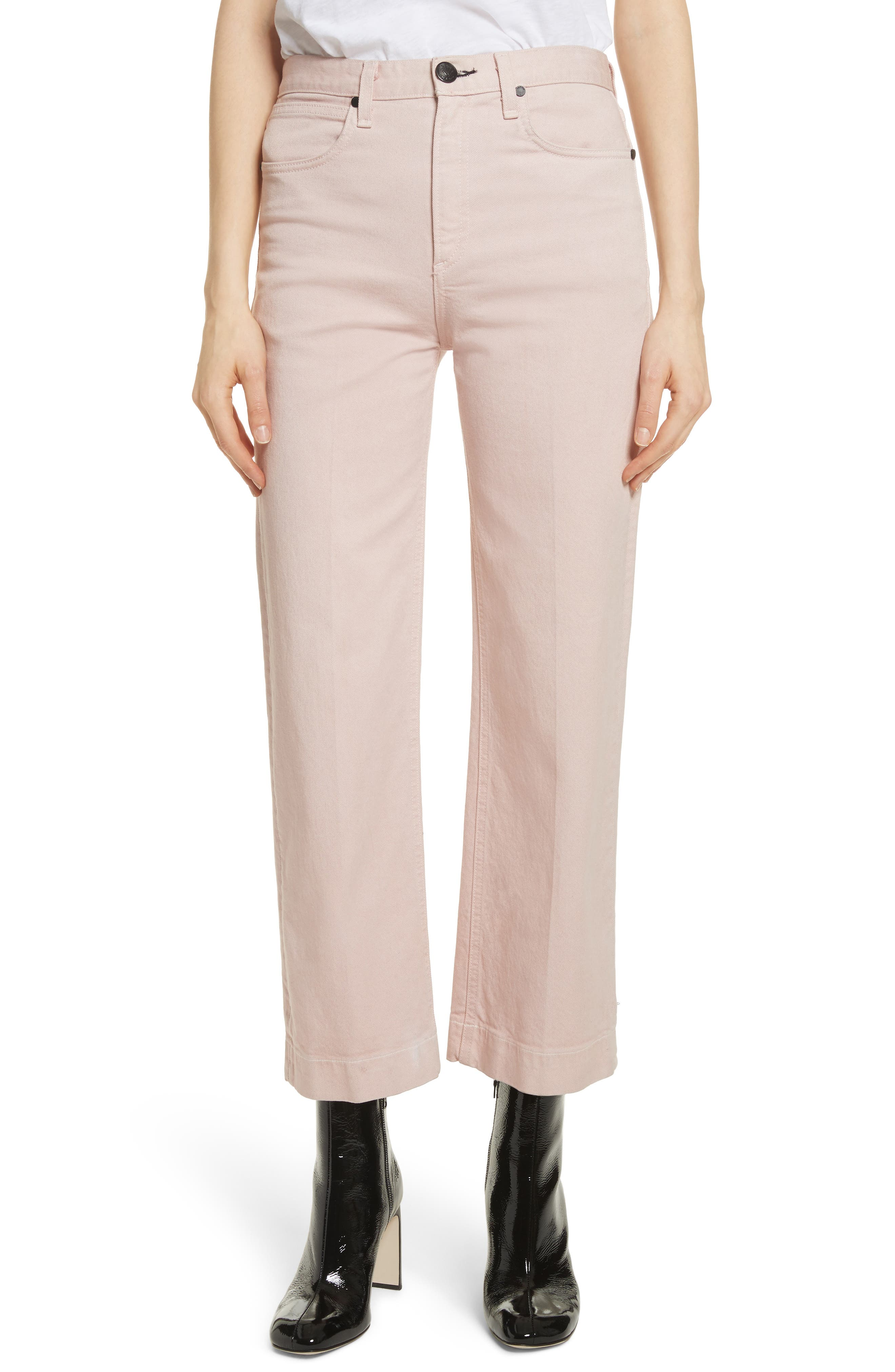 Justine High Waist Trouser Jeans,                             Main thumbnail 1, color,                             Blush Twill