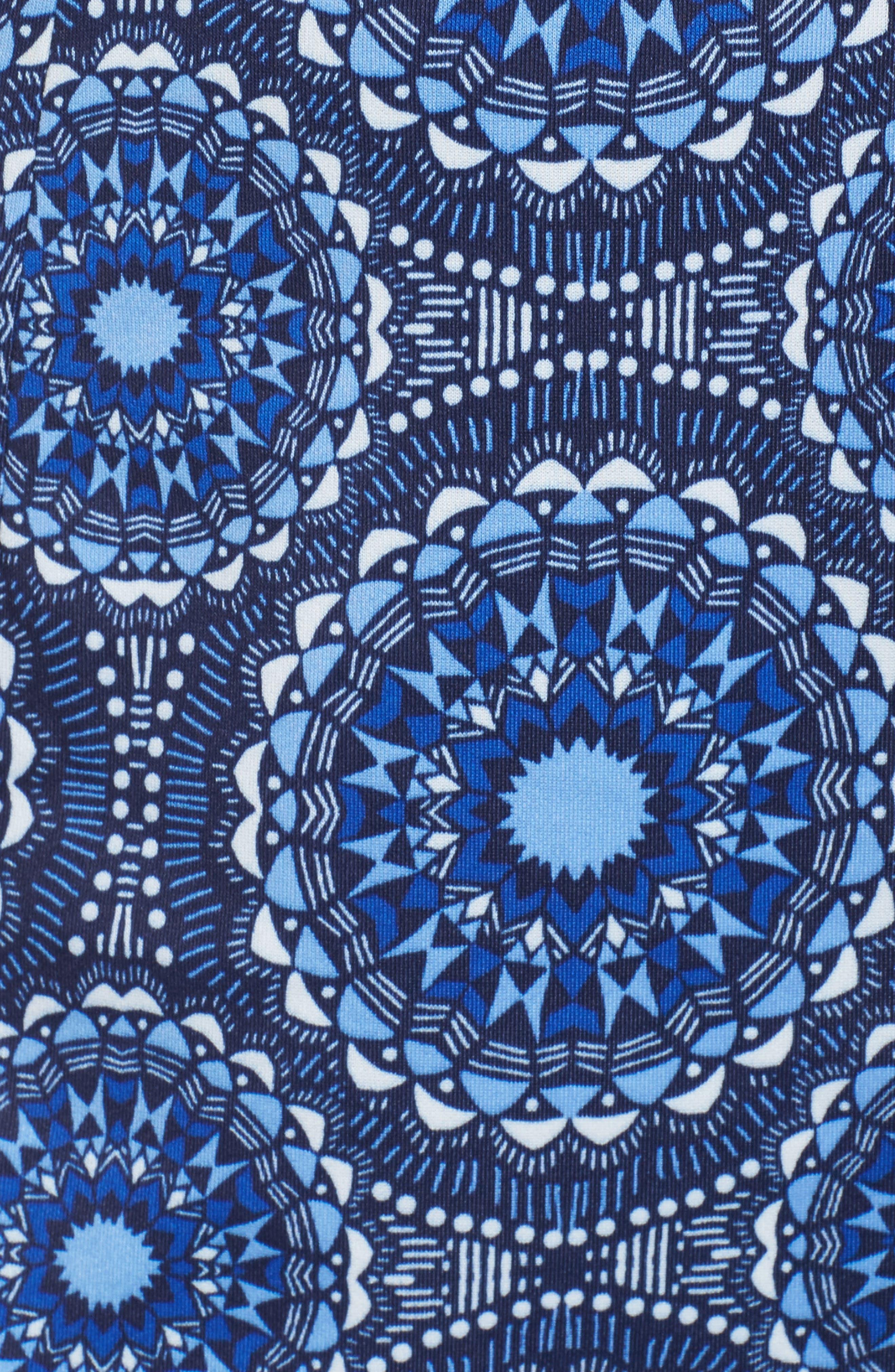 Scuba Sheath Dress,                             Alternate thumbnail 5, color,                             Soft White/ Sky Blue