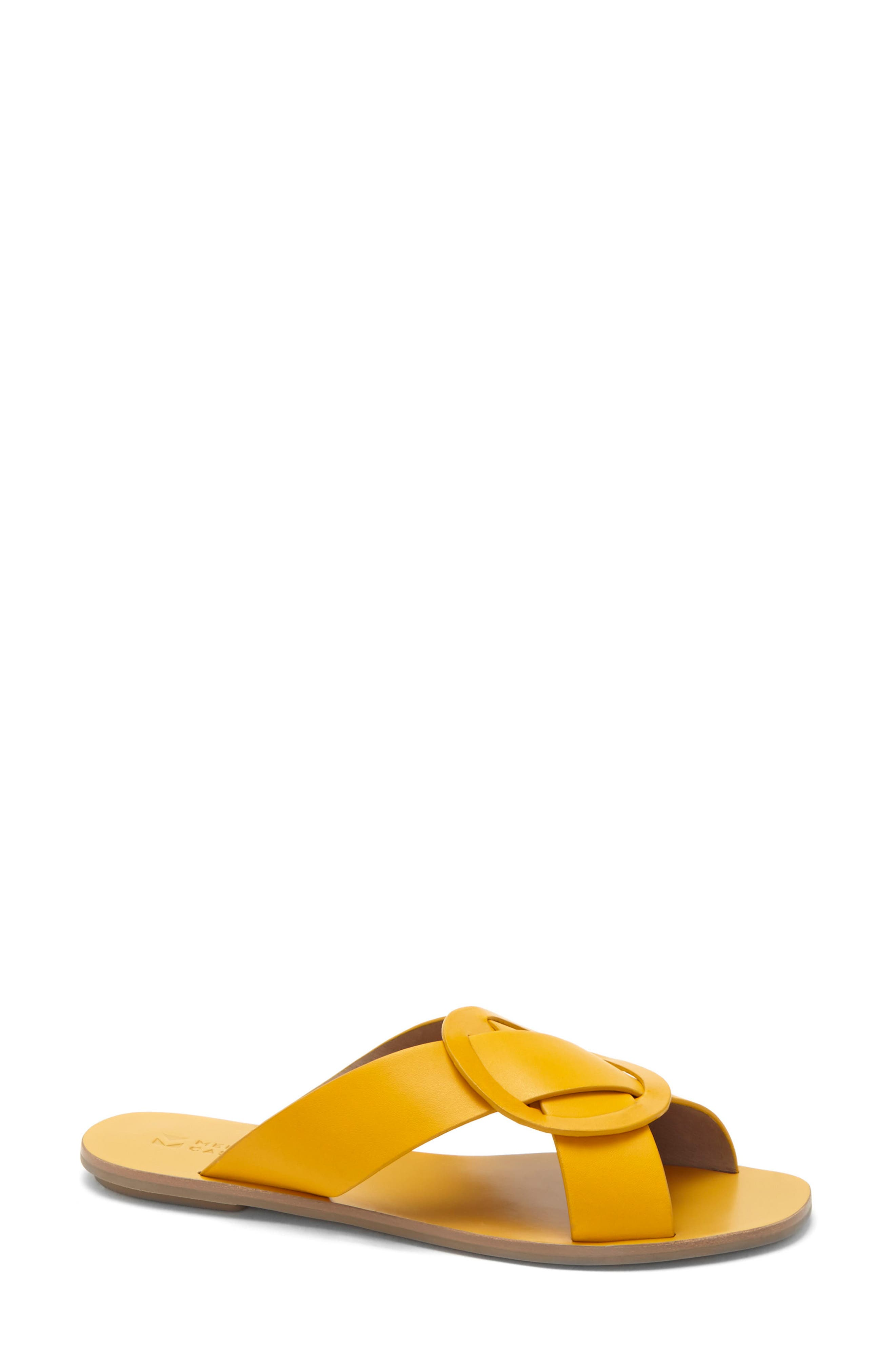 Carlein Slide Sandal,                             Main thumbnail 1, color,                             Mustard Leather
