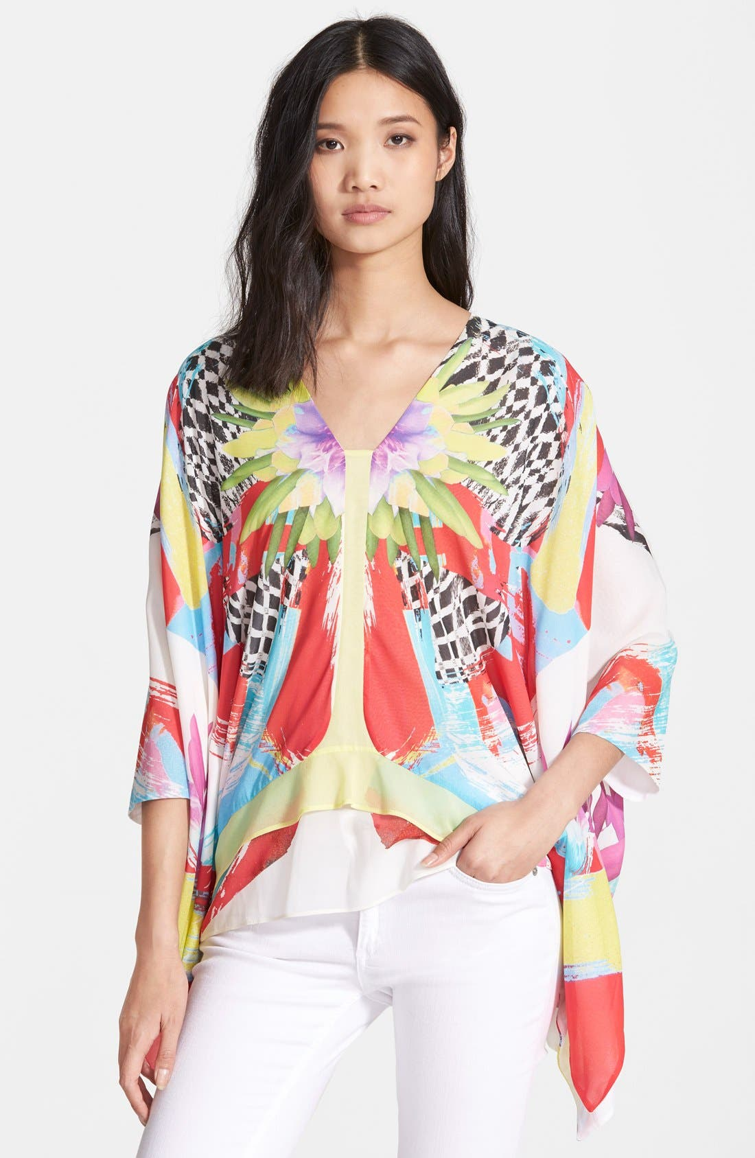 Alternate Image 1 Selected - Just Cavalli 'Kings Love' Print Stretch Silk Tunic Top