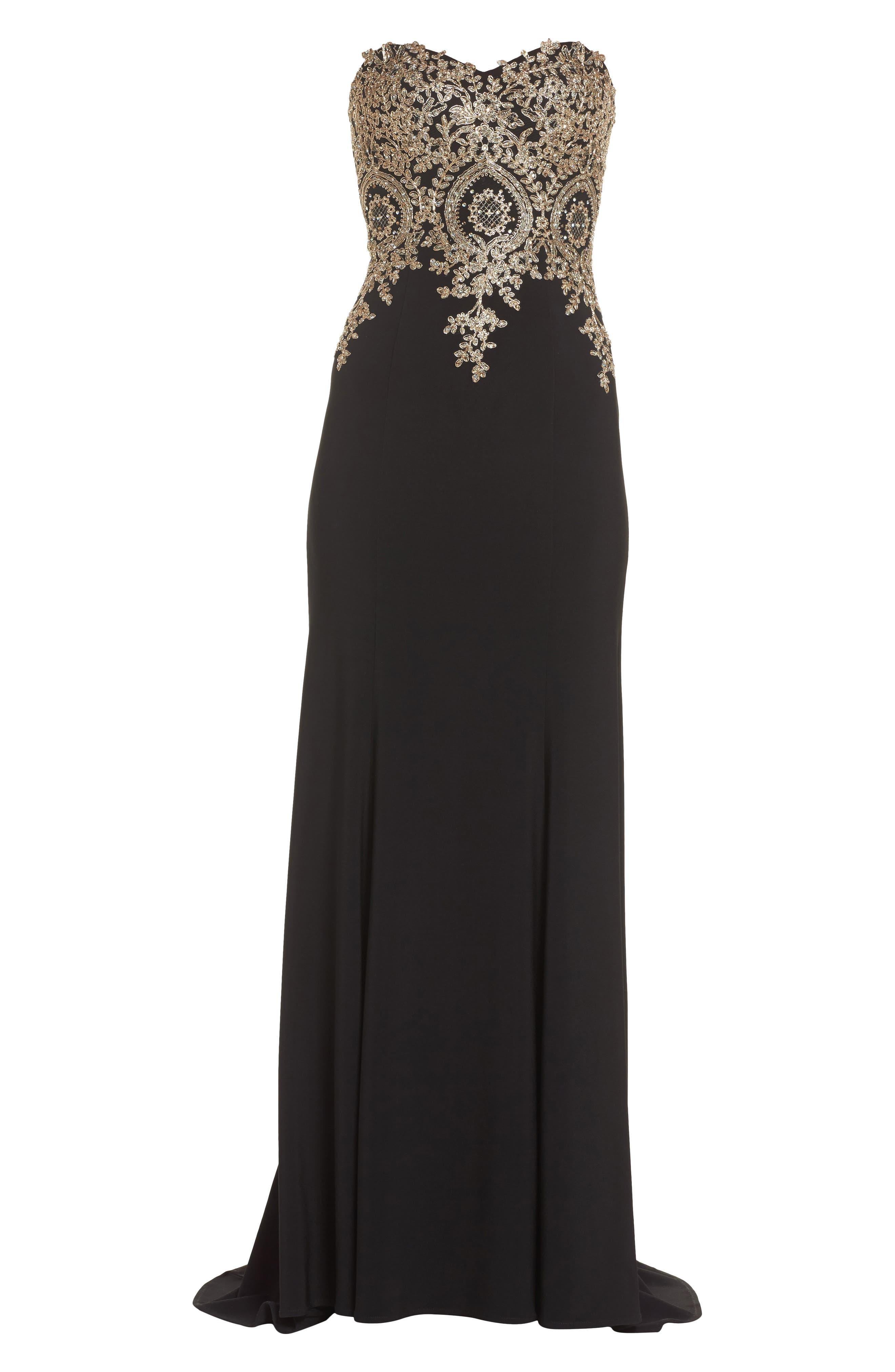Corset Back Embellished Strapless Gown,                             Alternate thumbnail 6, color,                             Black/ Gold